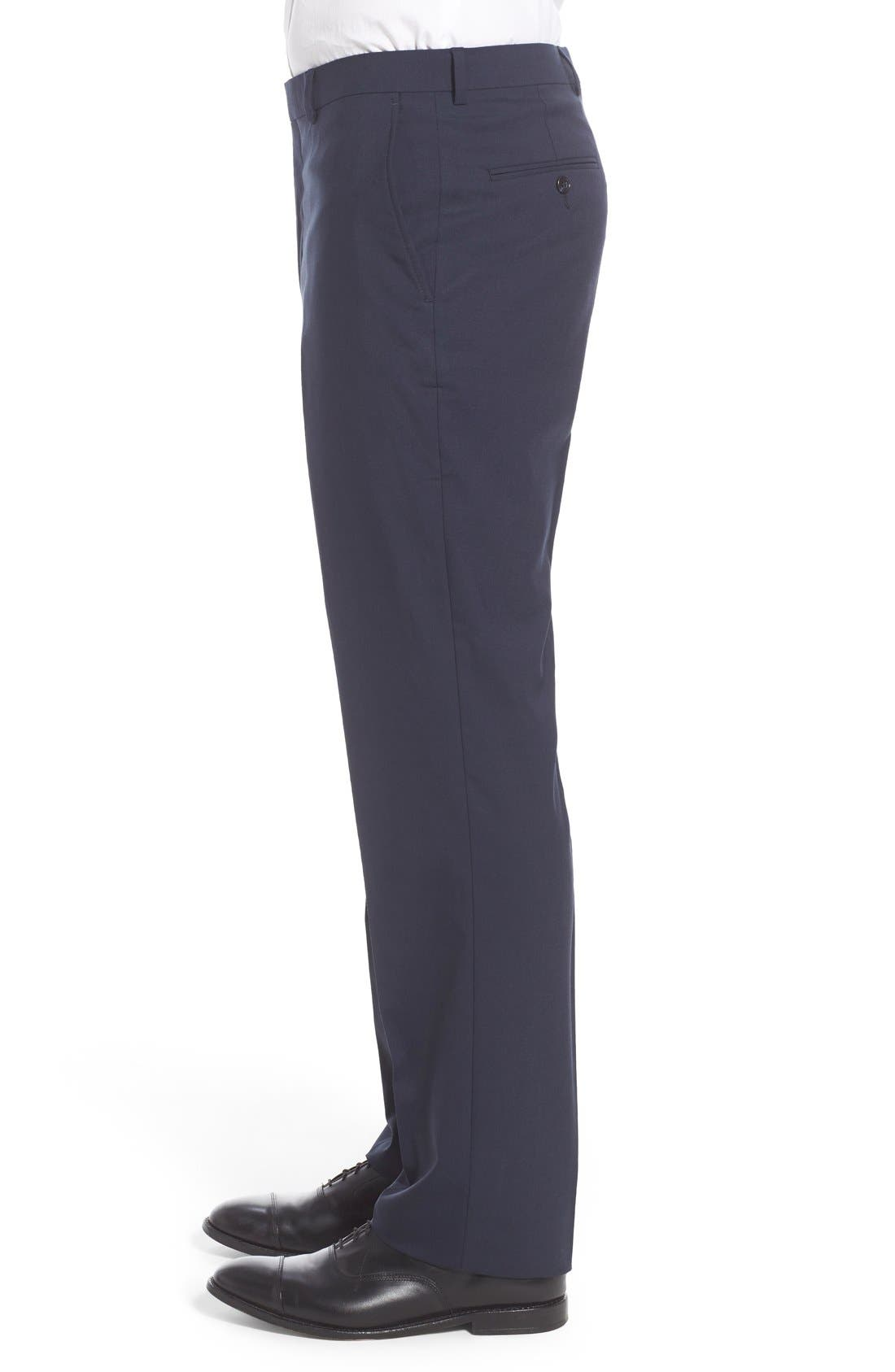 Flat Front Solid Stretch Wool Trousers,                             Alternate thumbnail 3, color,                             Navy Solid