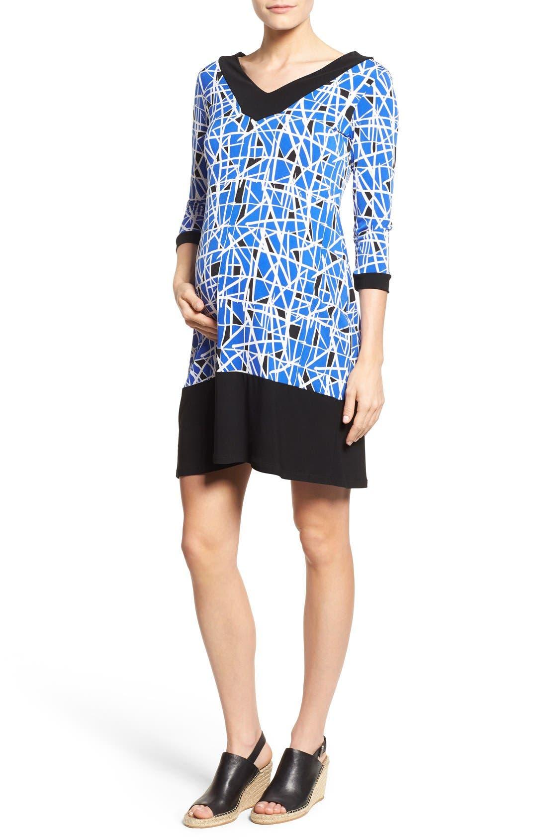 'Olivia' Maternity Dress,                         Main,                         color, Cobalt Glass