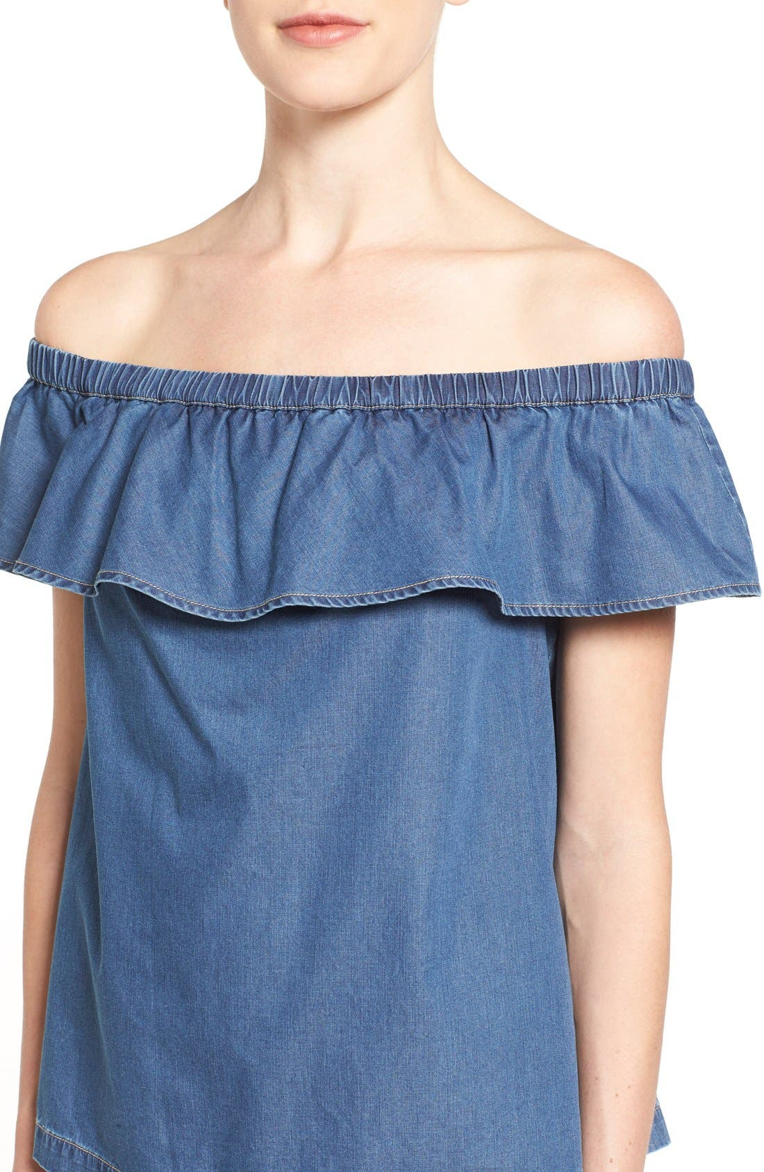 Off the Shoulder Chambray Top,                             Alternate thumbnail 4, color,                             Blue Refined Chambray
