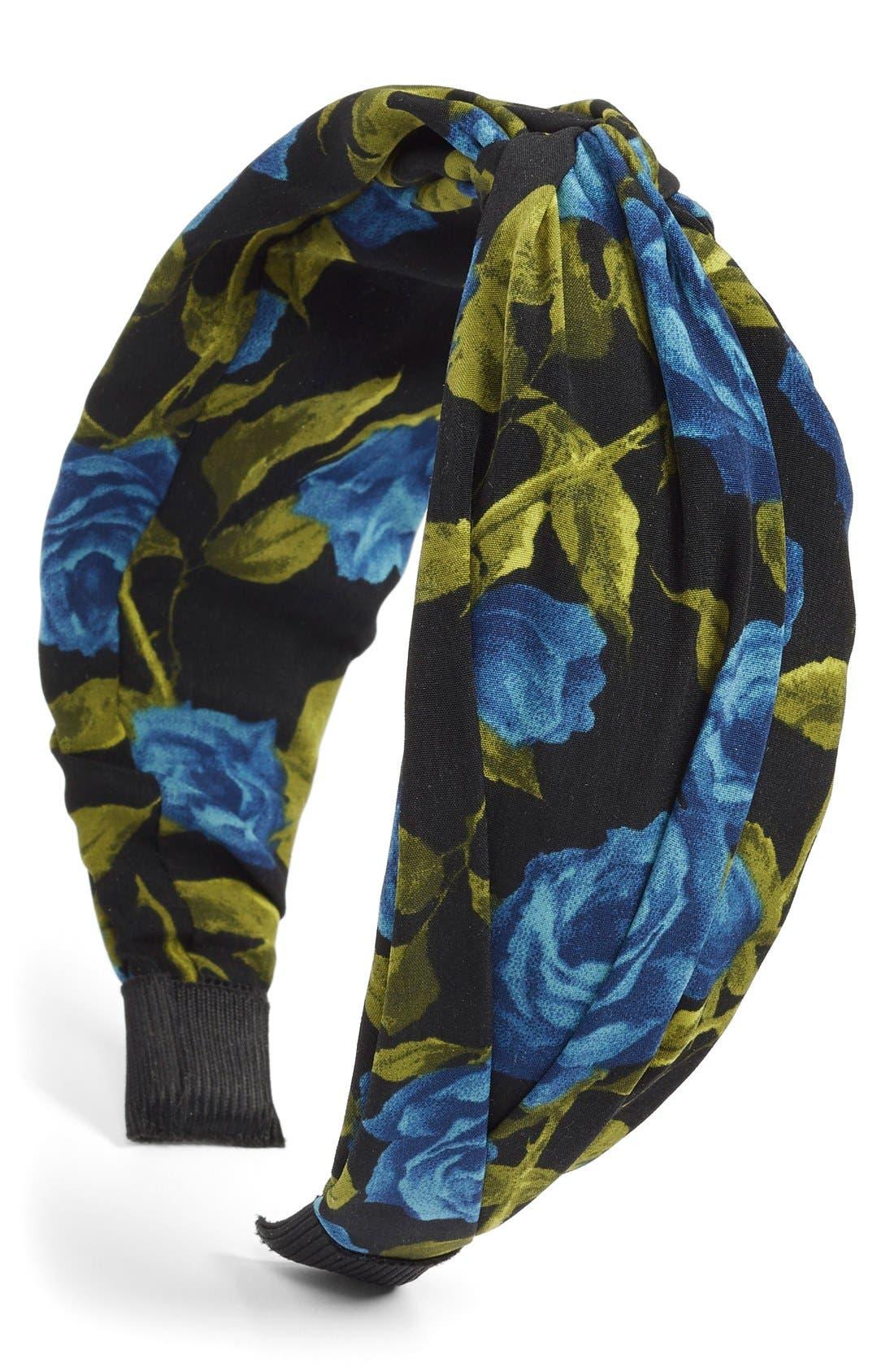 Rose Print Twist Knot Headband,                         Main,                         color, Black Multi