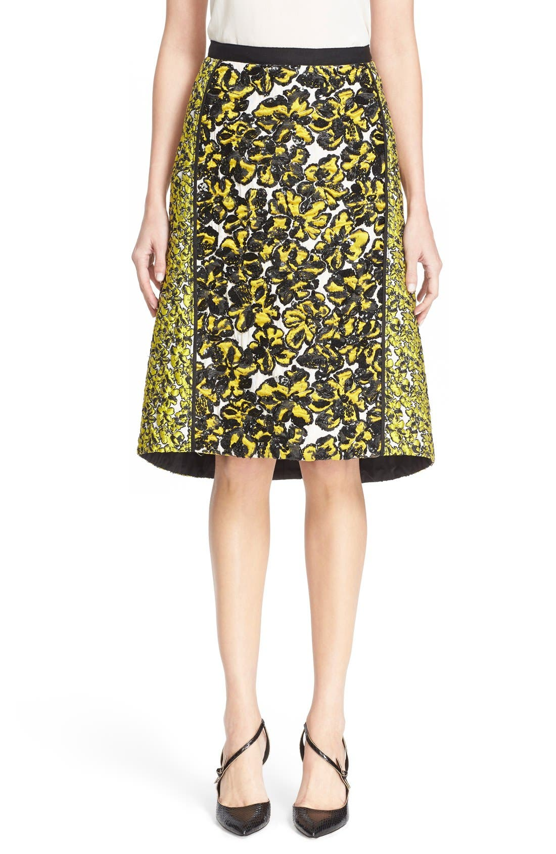 Alternate Image 1 Selected - Oscar de la Renta Embellished Floral Jacquard Skirt