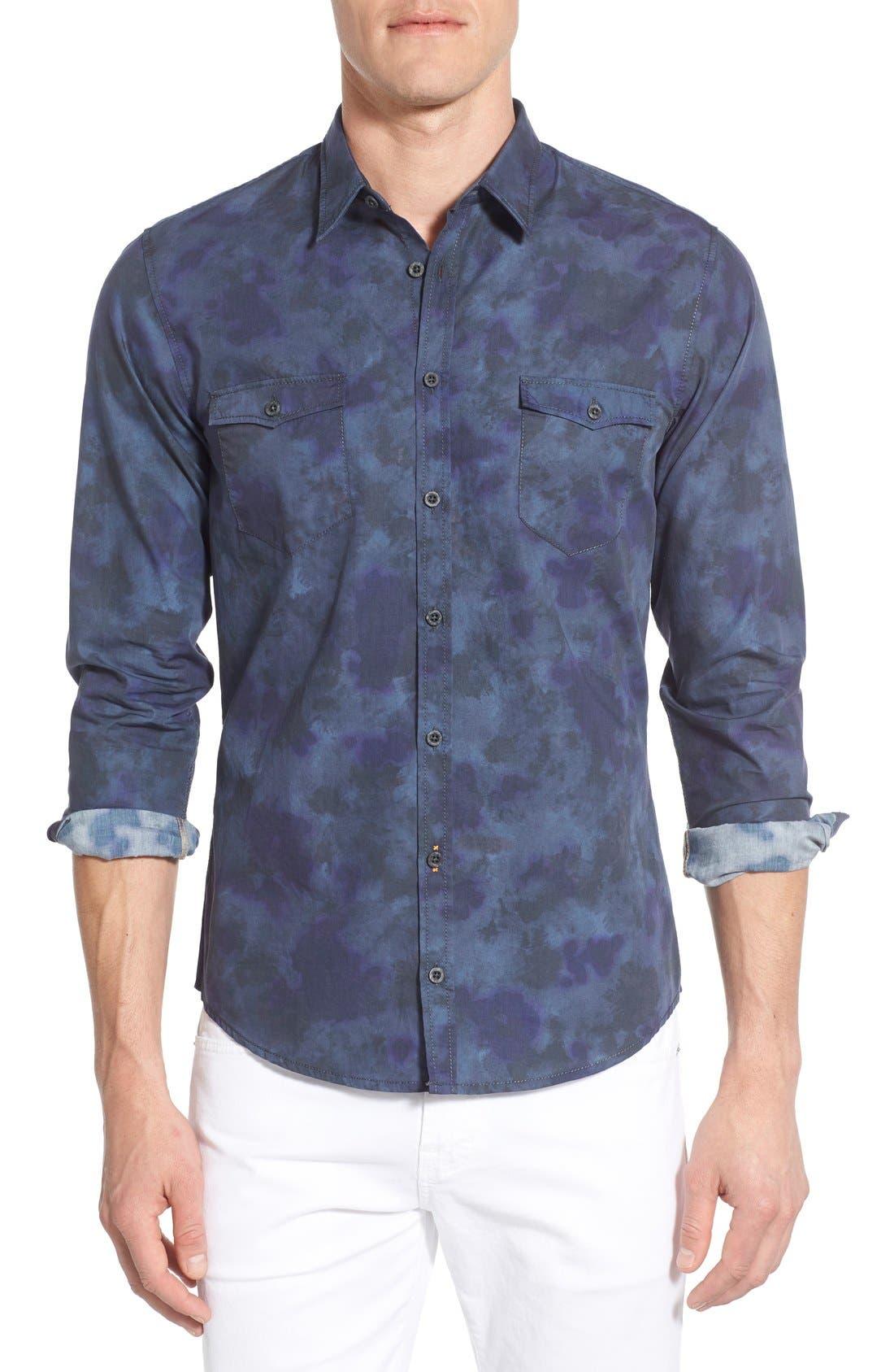 Edoslime Extra Trim Fit Print Woven Shirt,                         Main,                         color, Dark Blue