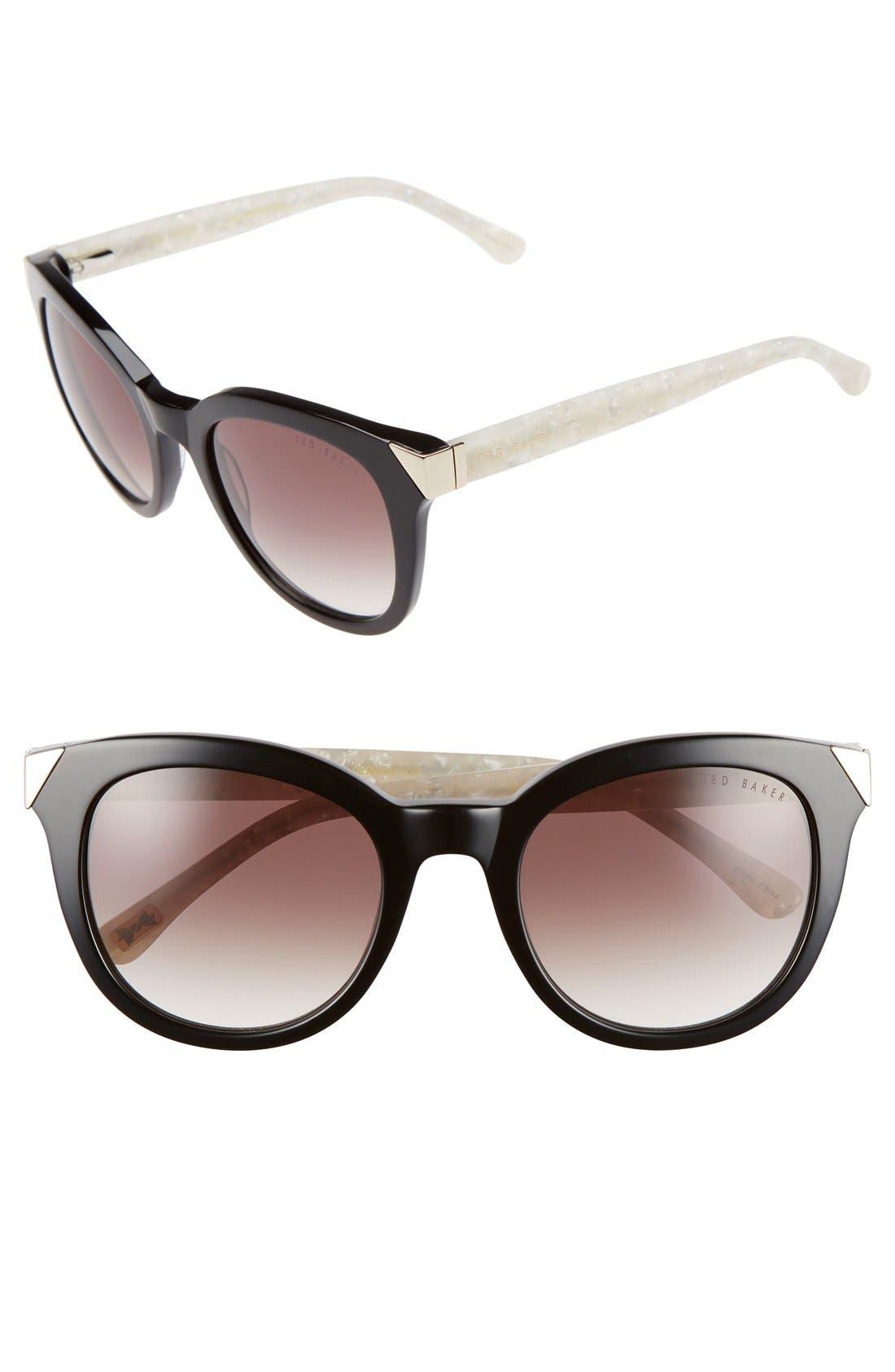 52mm Metal Accent Sunglasses,                         Main,                         color, Black