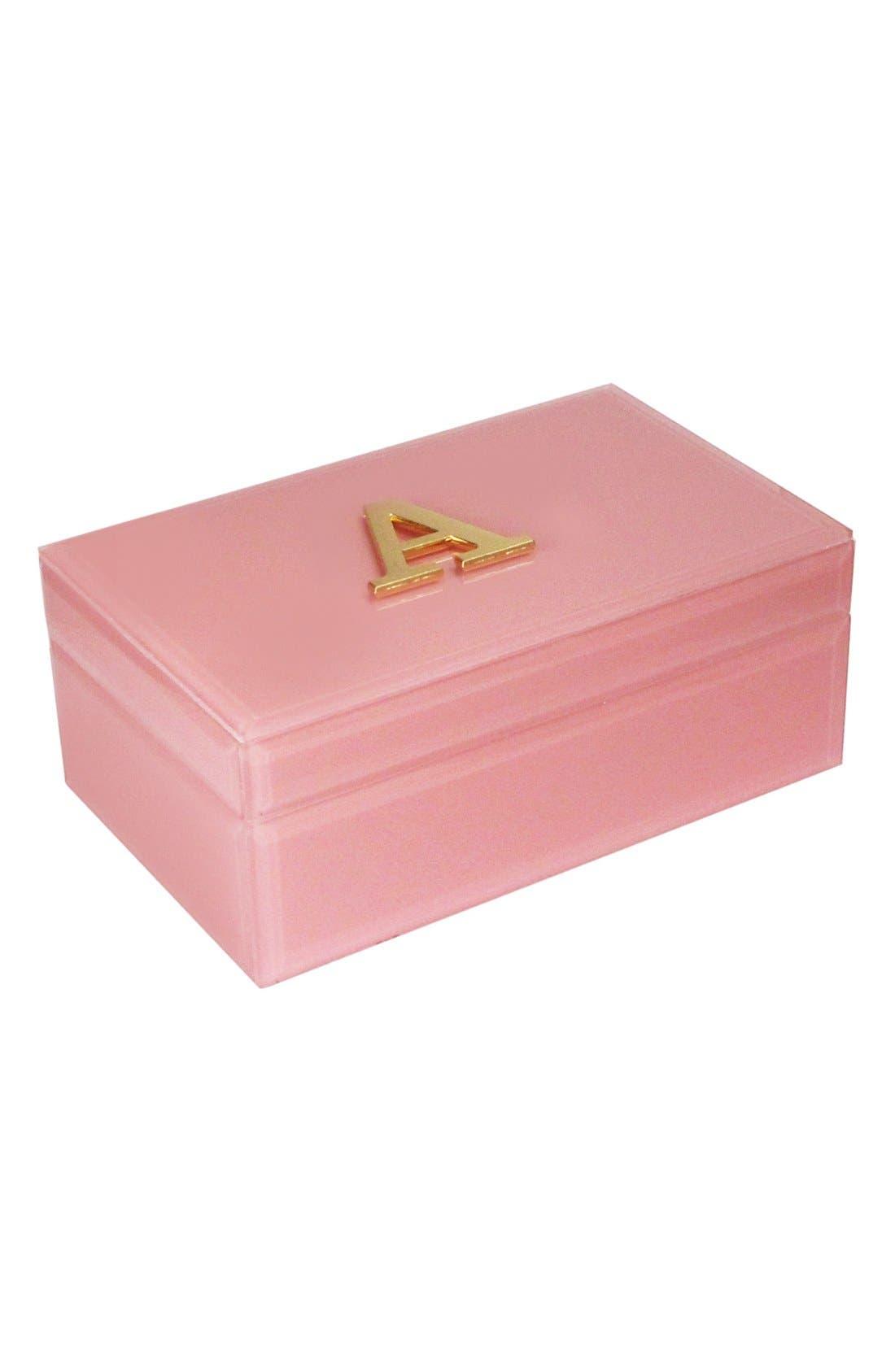 Monogram Jewelry Box,                             Main thumbnail 1, color,                             Rose - A