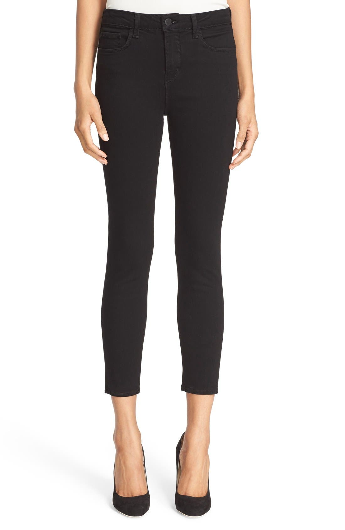Margot High Waist Crop Jeans,                         Main,                         color, Noir