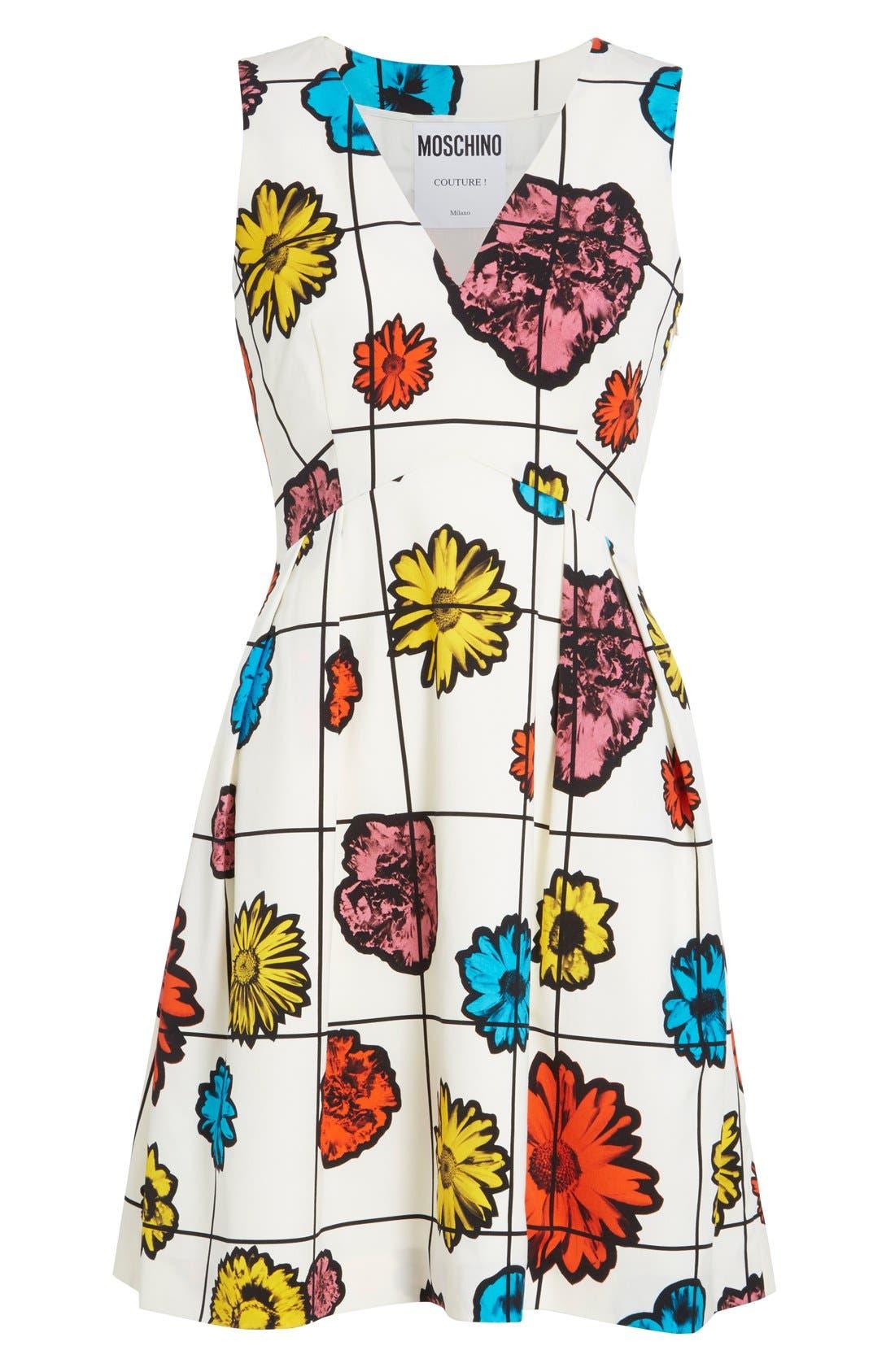 Alternate Image 4  - Moschino Floral & Grid Print Wool Blend Dress