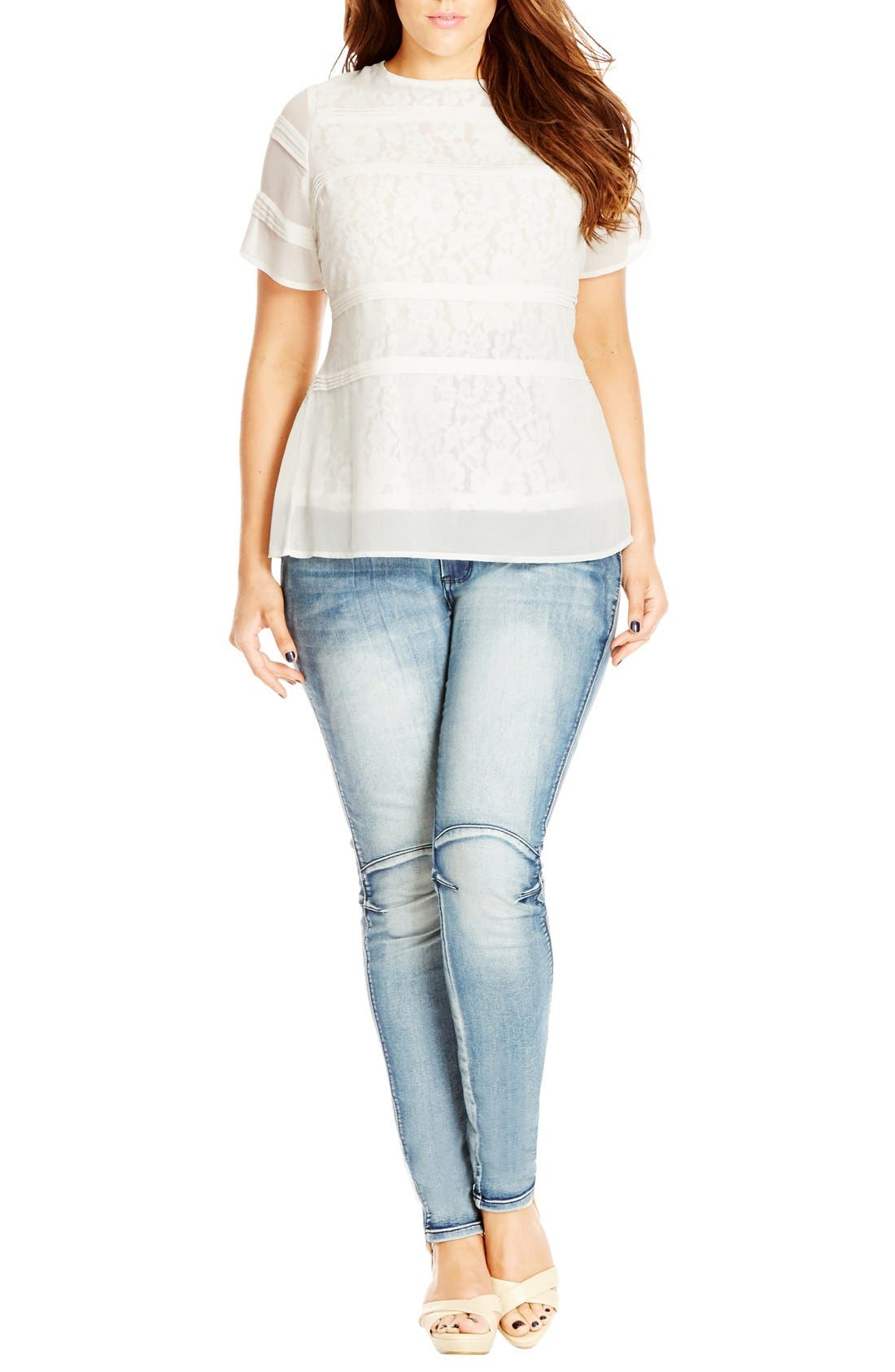 Pintuck Lace Layer Top,                         Main,                         color, Ivory