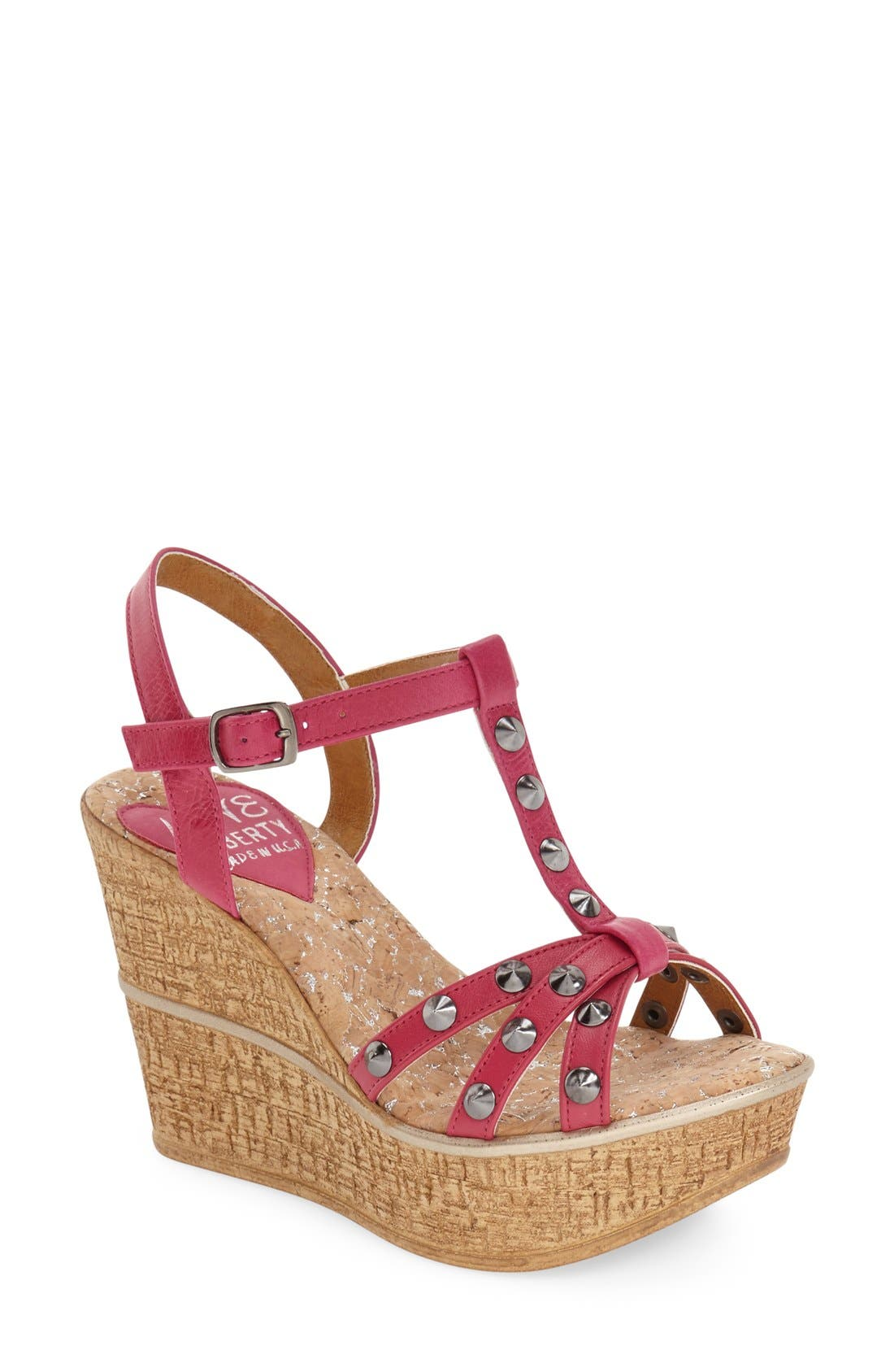 LOVE AND LIBERTY Violet Spiked T-Strap Wedge Sandal