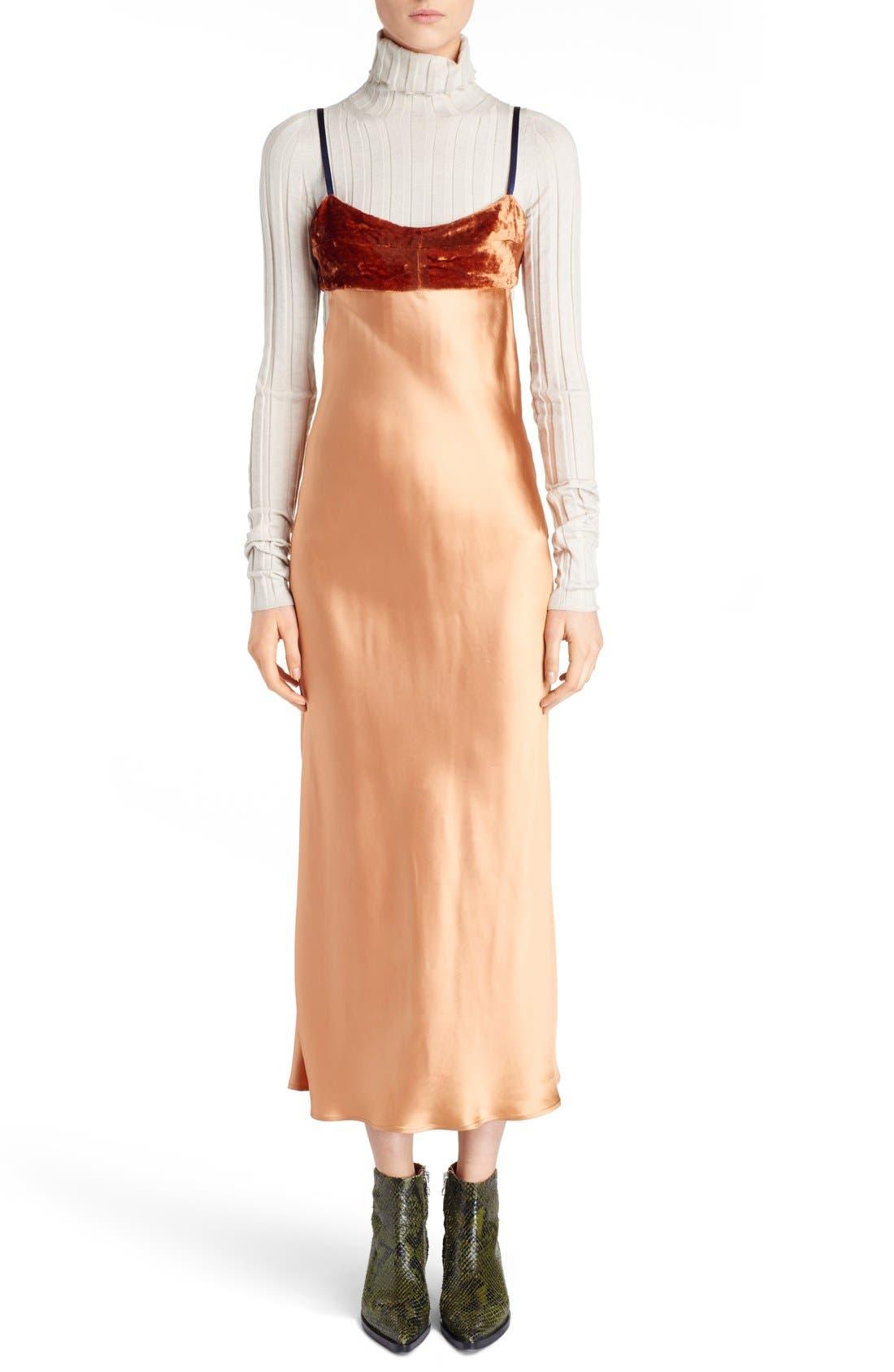 Elina Velvet & Satin Slipdress,                             Main thumbnail 1, color,                             Copper Red