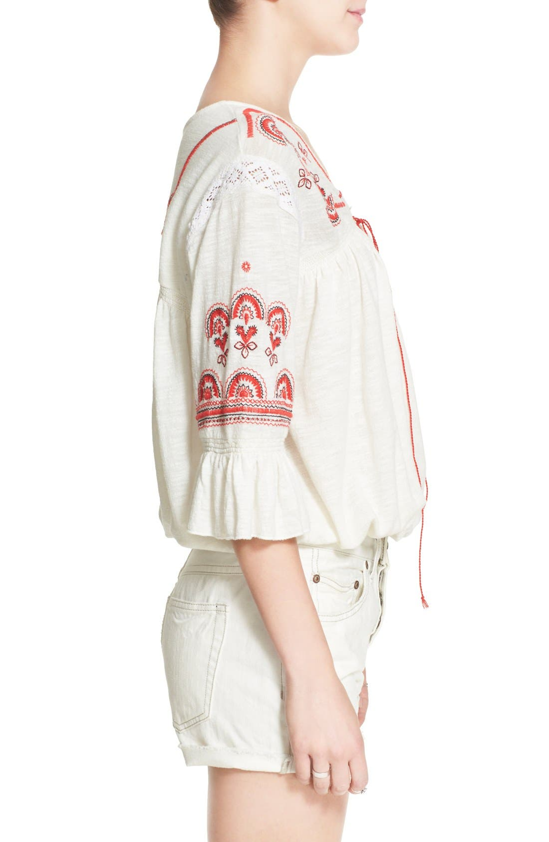 Alternate Image 3  - Free People 'Chiquita' Embroidered Peasant Top