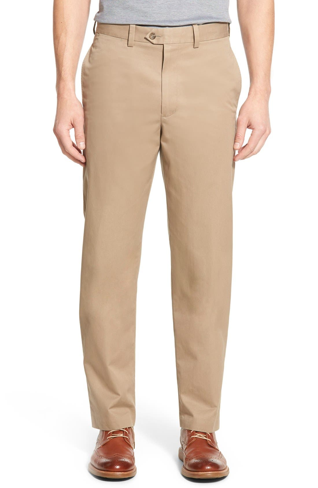 NORDSTROM MENS SHOP Smartcare<sup>™</sup> Classic Supima<sup>®</sup> Cotton Flat Front Trousers