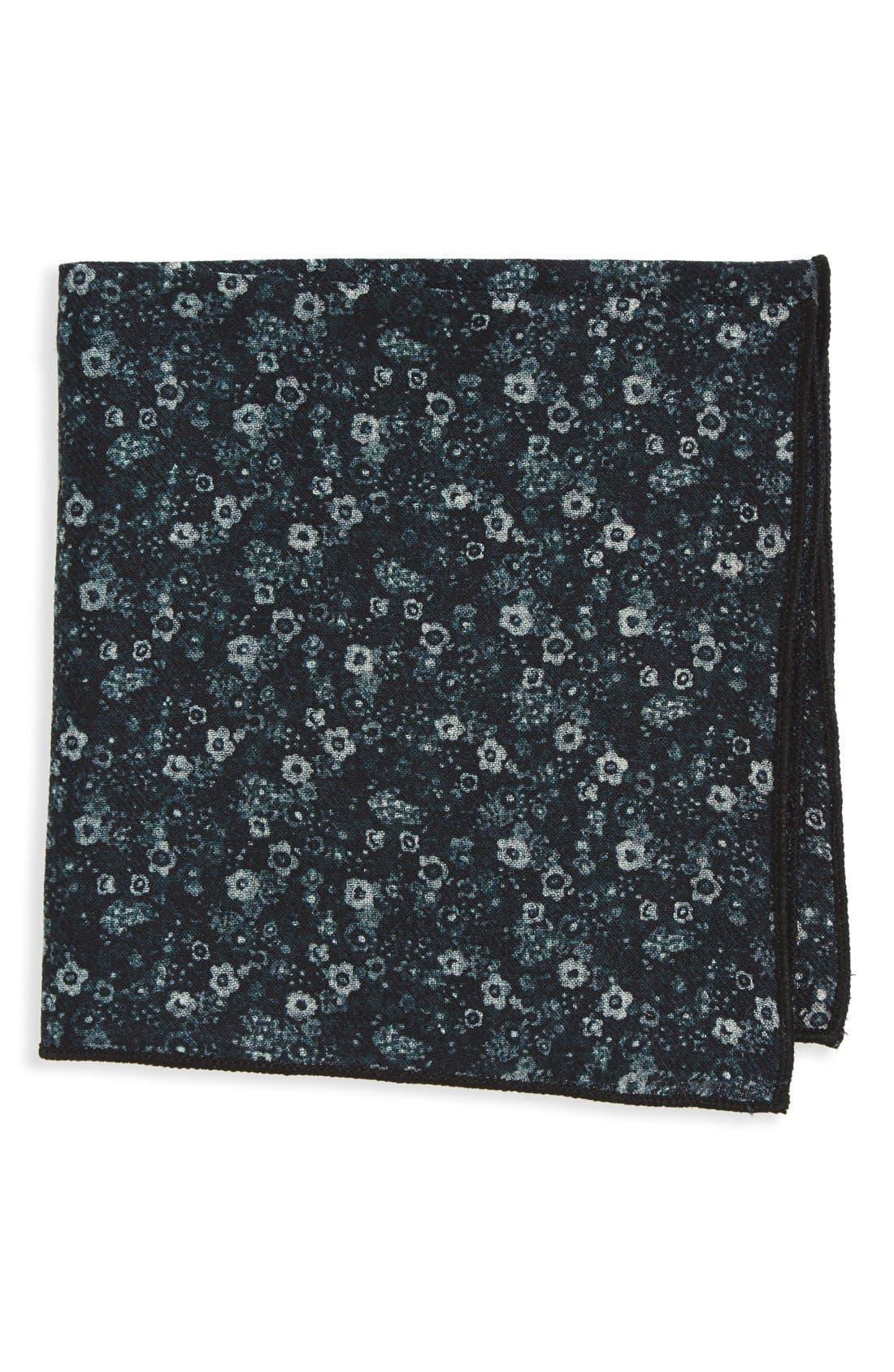Floral Wool Pocket Square,                         Main,                         color, Black