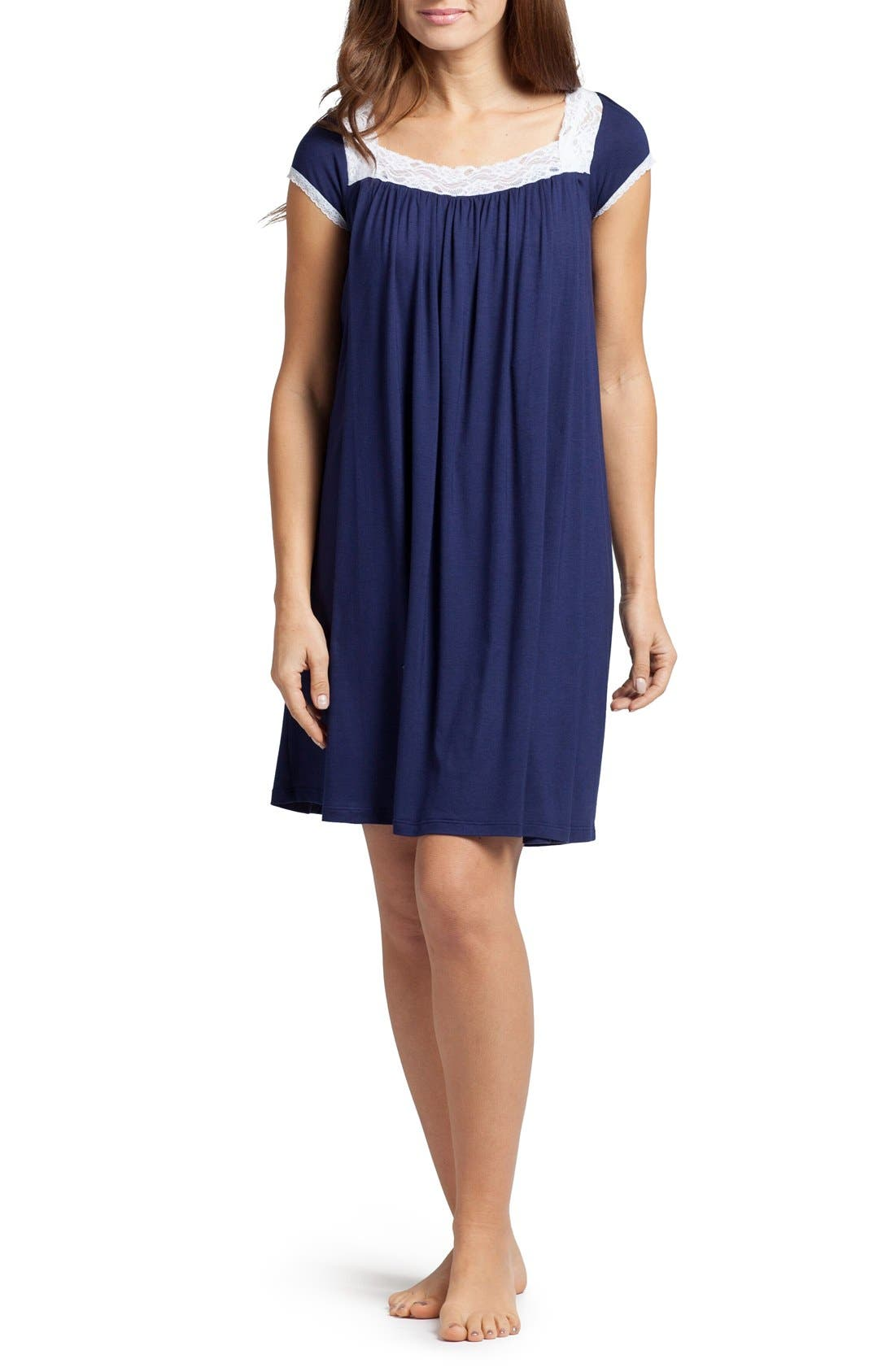 'The Lace' Maternity/Nursing Nightgown,                         Main,                         color, Estate Blue