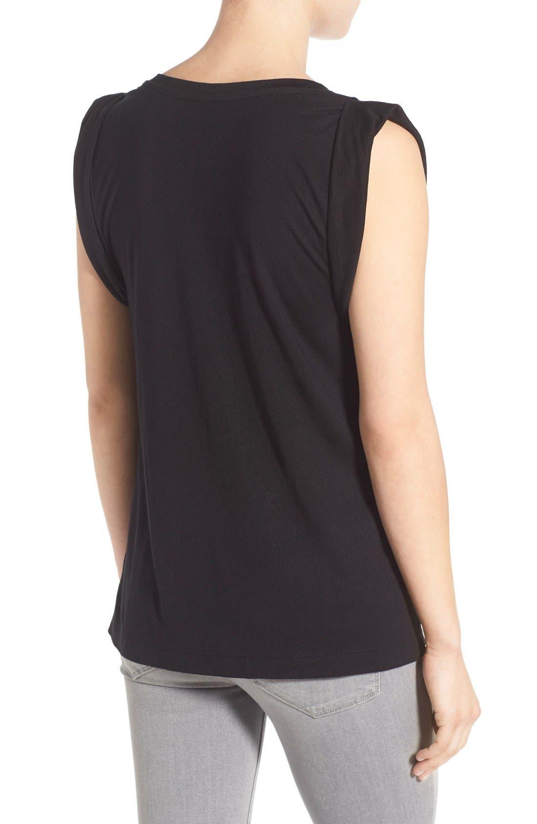 Shoulder Pleat Sleeveless Tee,                             Alternate thumbnail 2, color,                             Black