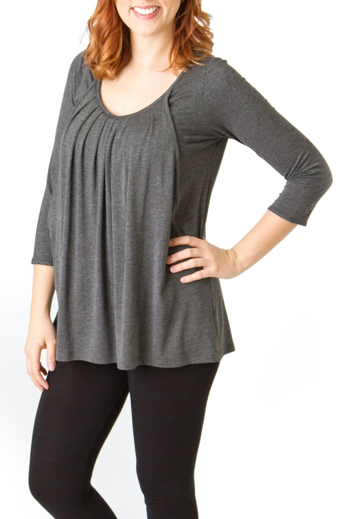 Pleated Maternity/Nursing Top,                         Main,                         color, Charcoal