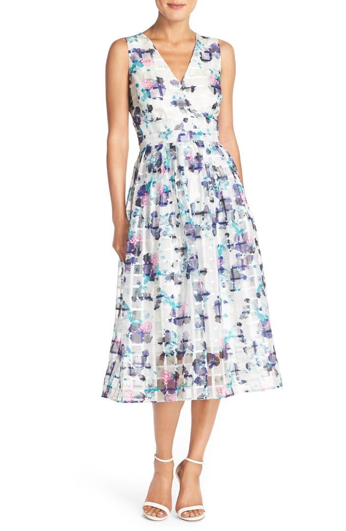 Ivanka Trump Floral Print Organza Midi Dress Nordstrom
