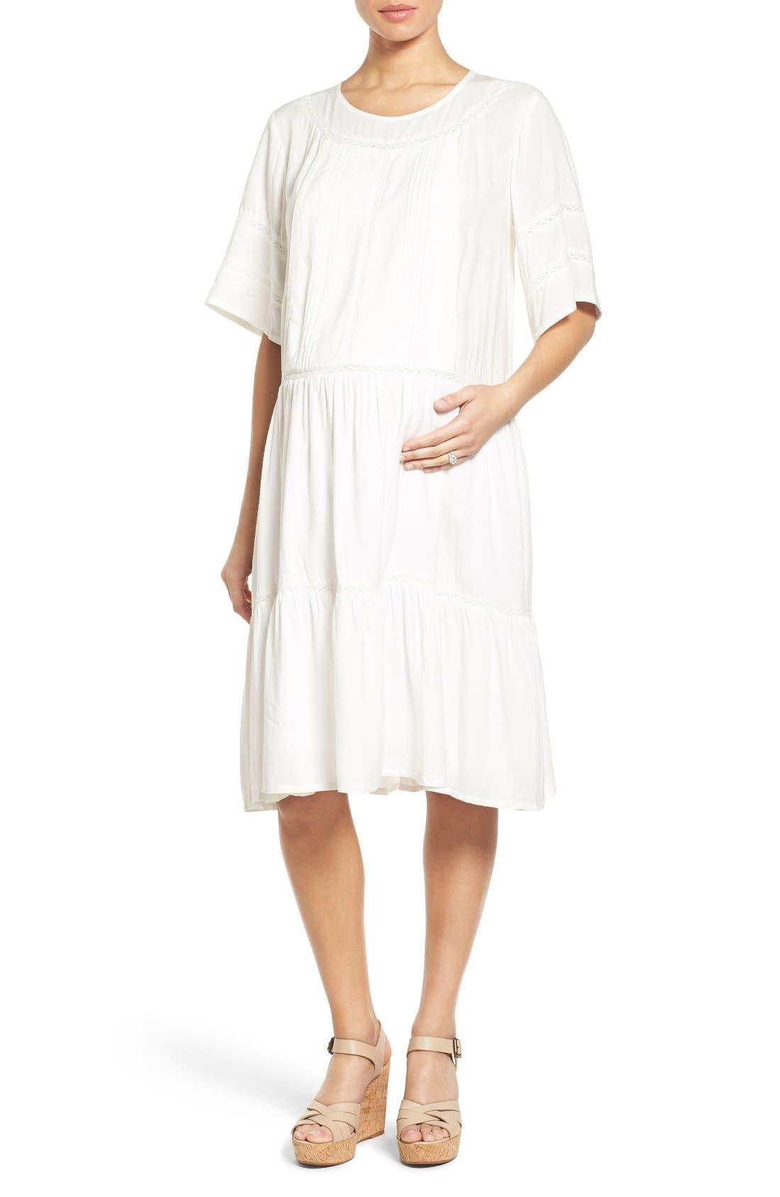 'Wild at Heart' Maternity/Nursing Midi Dress,                         Main,                         color, Cream