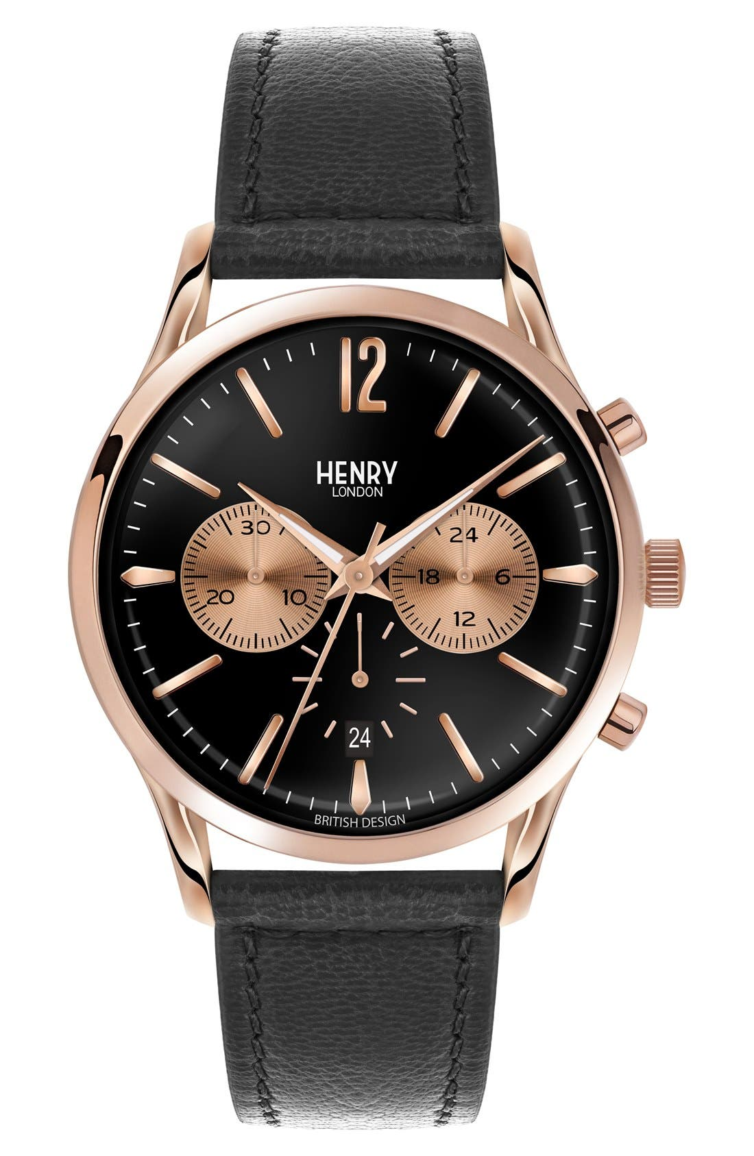 Henry London 'Richmond' Chronograph Leather Strap Watch, 41mm