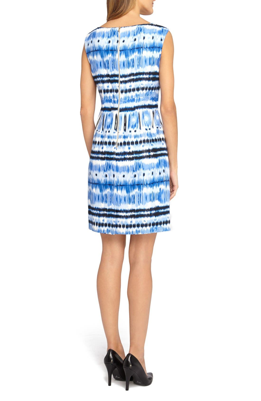 Alternate Image 2  - Tahari Ikat Print Linen Blend Sheath Dress (Petite)