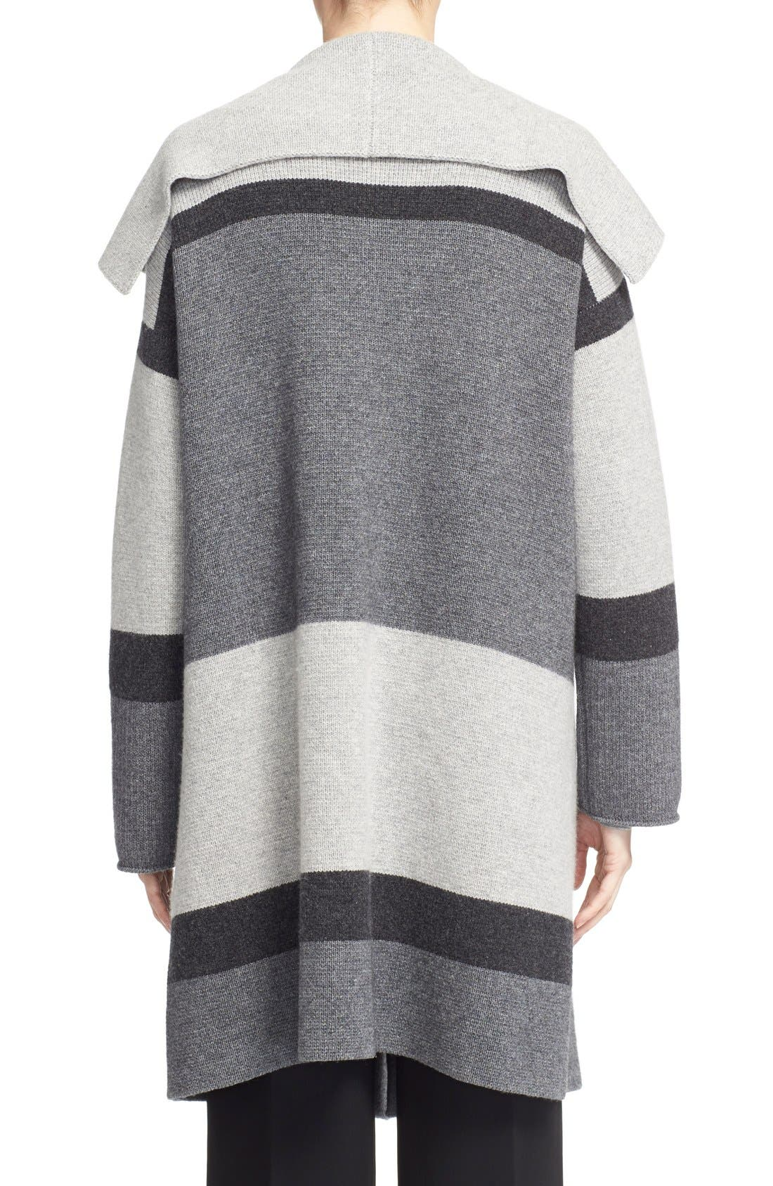 Colorblock Wool & Cashmere Knit Car Coat,                             Alternate thumbnail 3, color,                             Heather Steal/ Stone/ Carbon