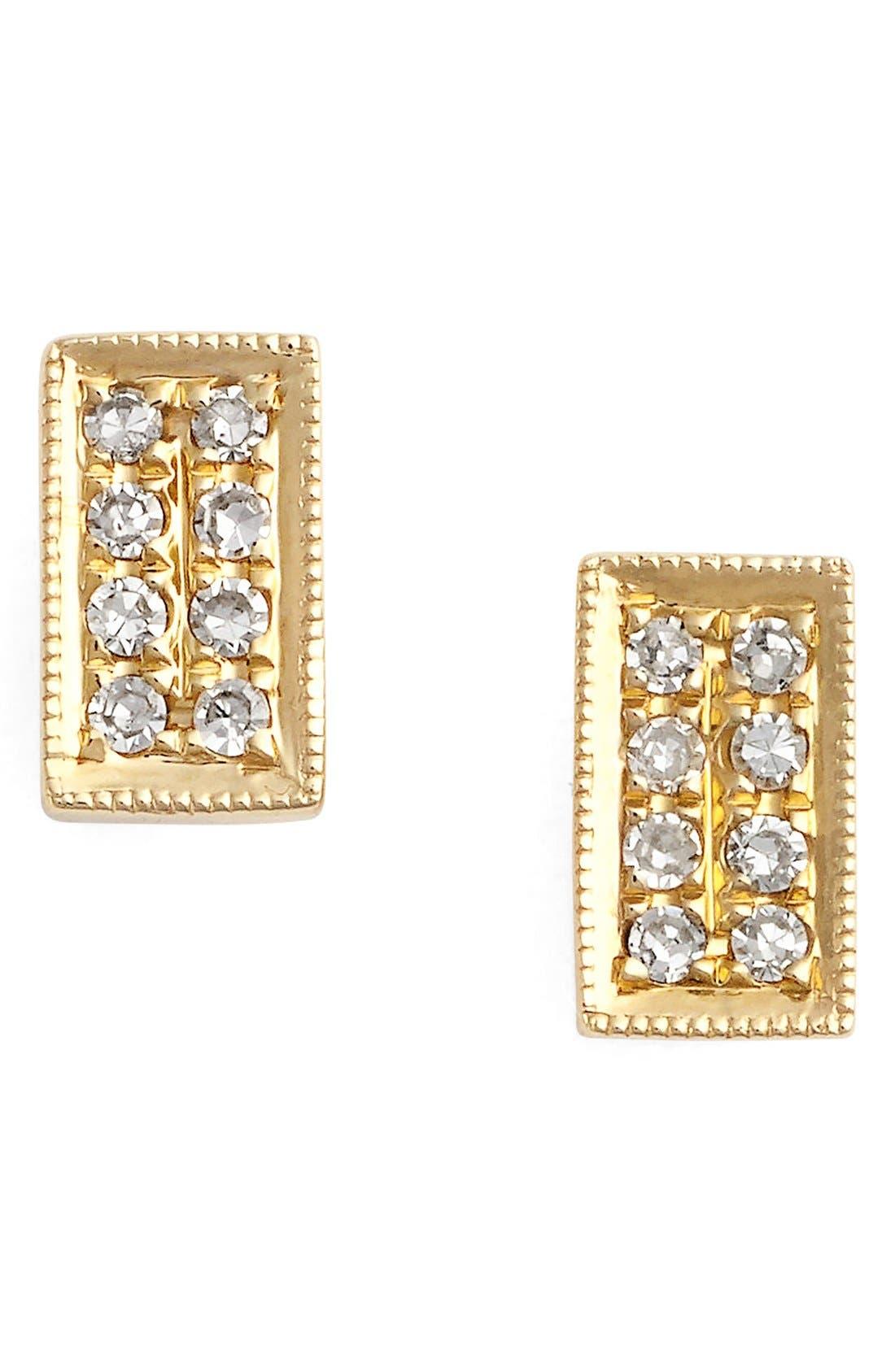 'Katie' Diamond Stud Earrings,                             Main thumbnail 1, color,                             Yellow Gold