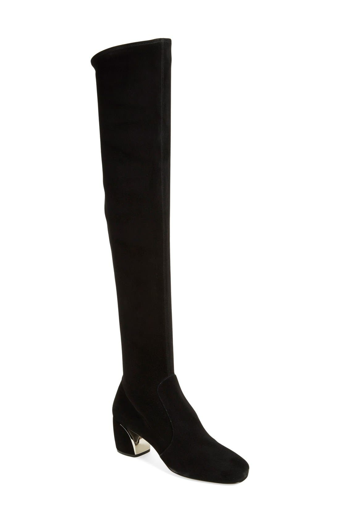 Over the Knee Boot,                             Main thumbnail 1, color,                             Black Suede