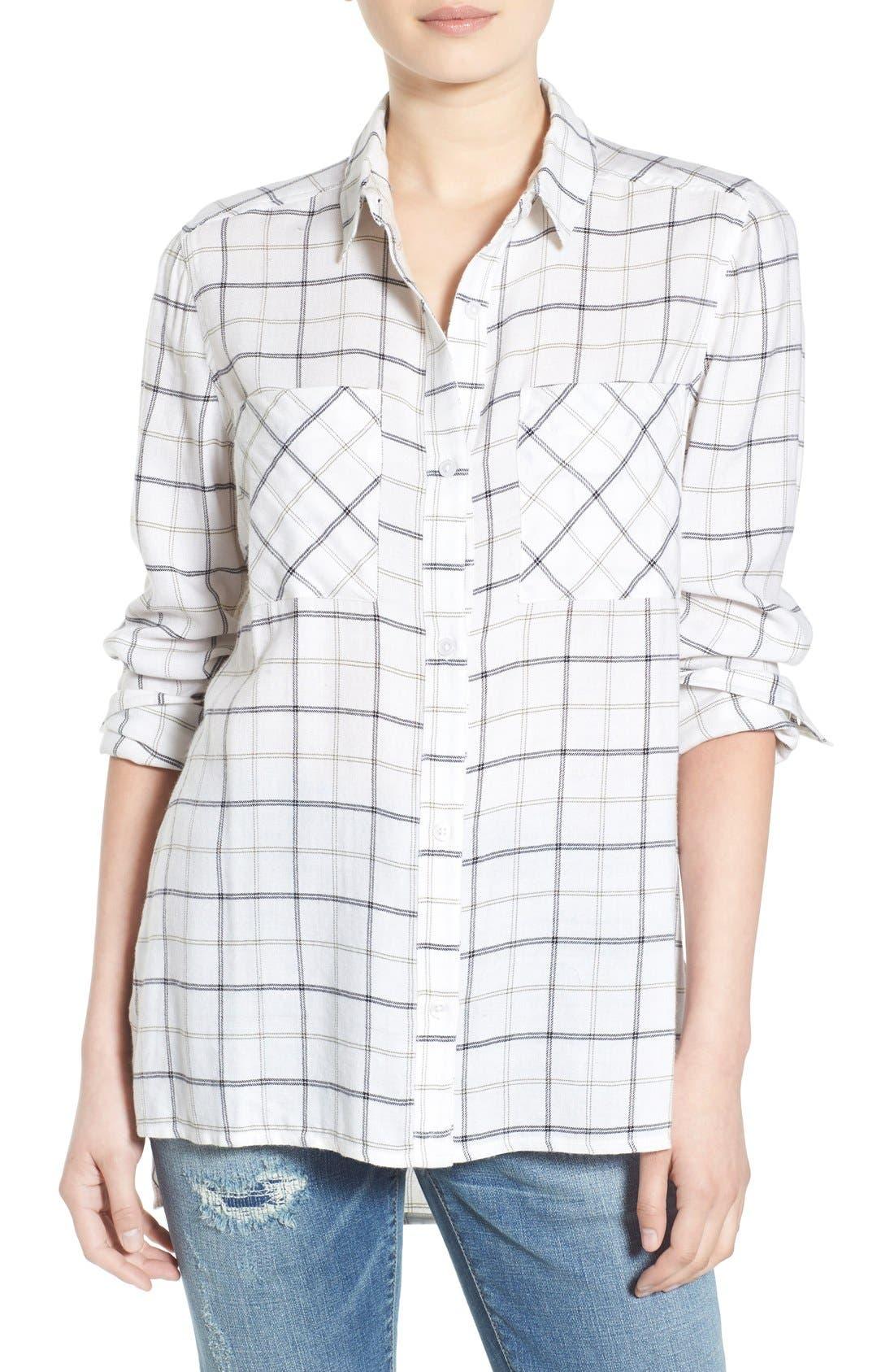 Plaid Tunic Shirt,                         Main,                         color, White Suzy Plaid