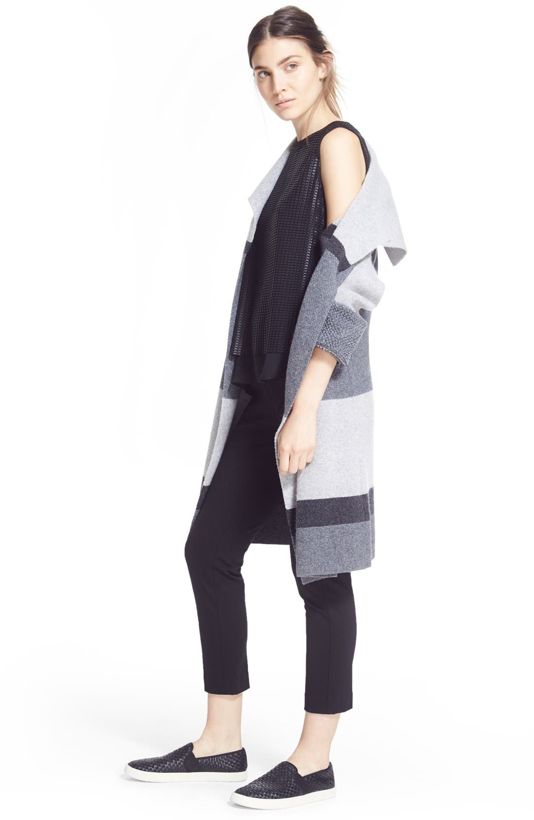 Colorblock Wool & Cashmere Knit Car Coat,                             Alternate thumbnail 7, color,                             Heather Steal/ Stone/ Carbon