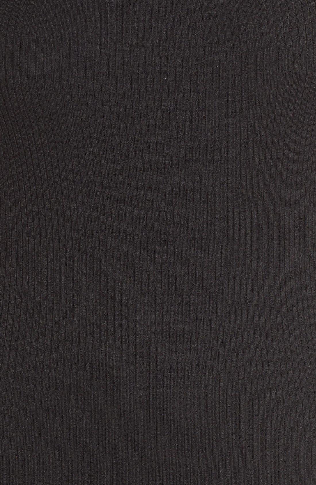 Mock Neck Midi Dress,                             Alternate thumbnail 5, color,                             Black