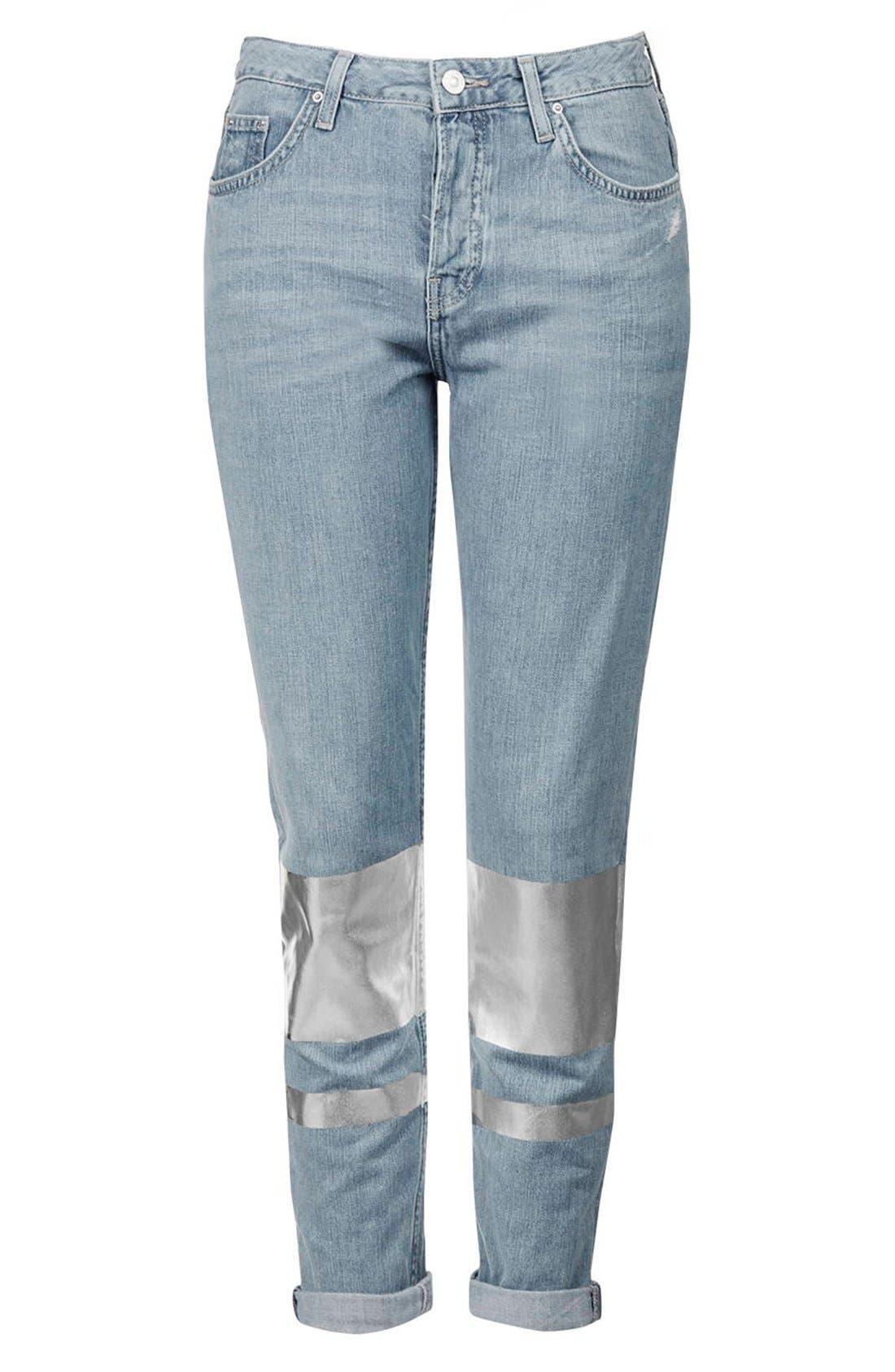 Alternate Image 4  - Topshop 'Hayden' Silver Stripe Boyfriend Jeans (Petite)