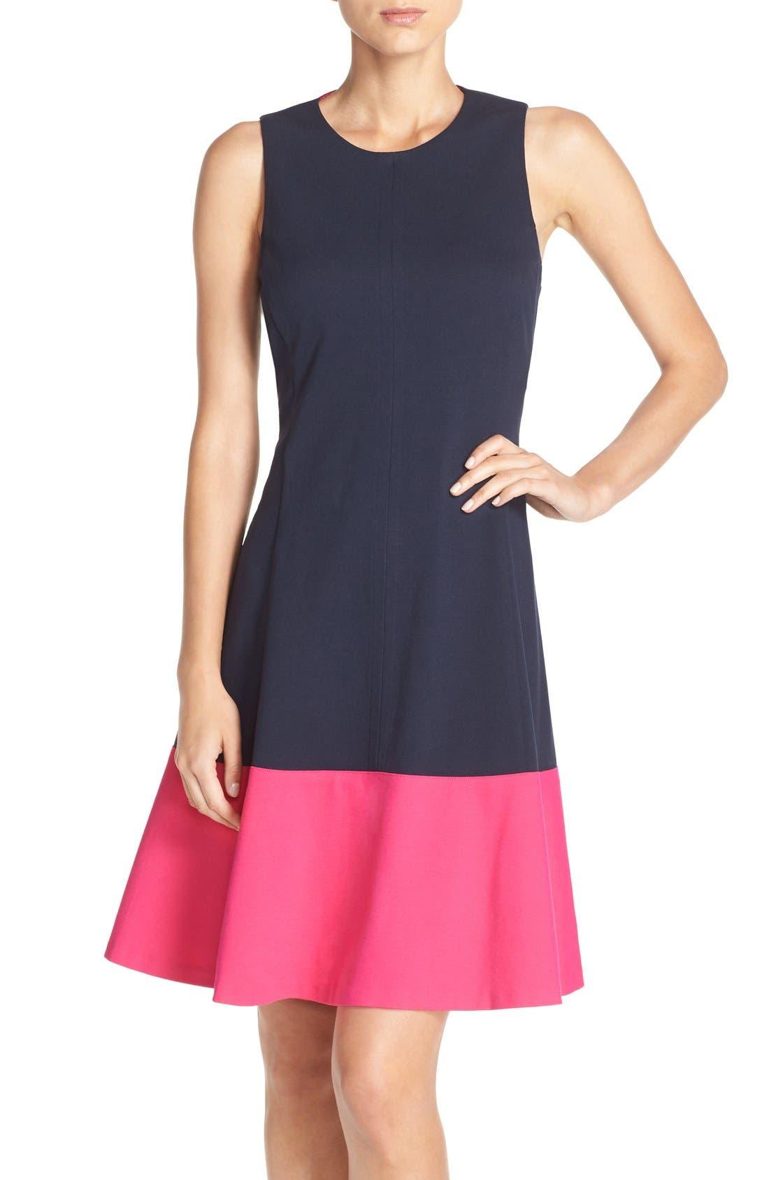 Colorblock Hem Fit & Flare Dress,                         Main,                         color, Navy