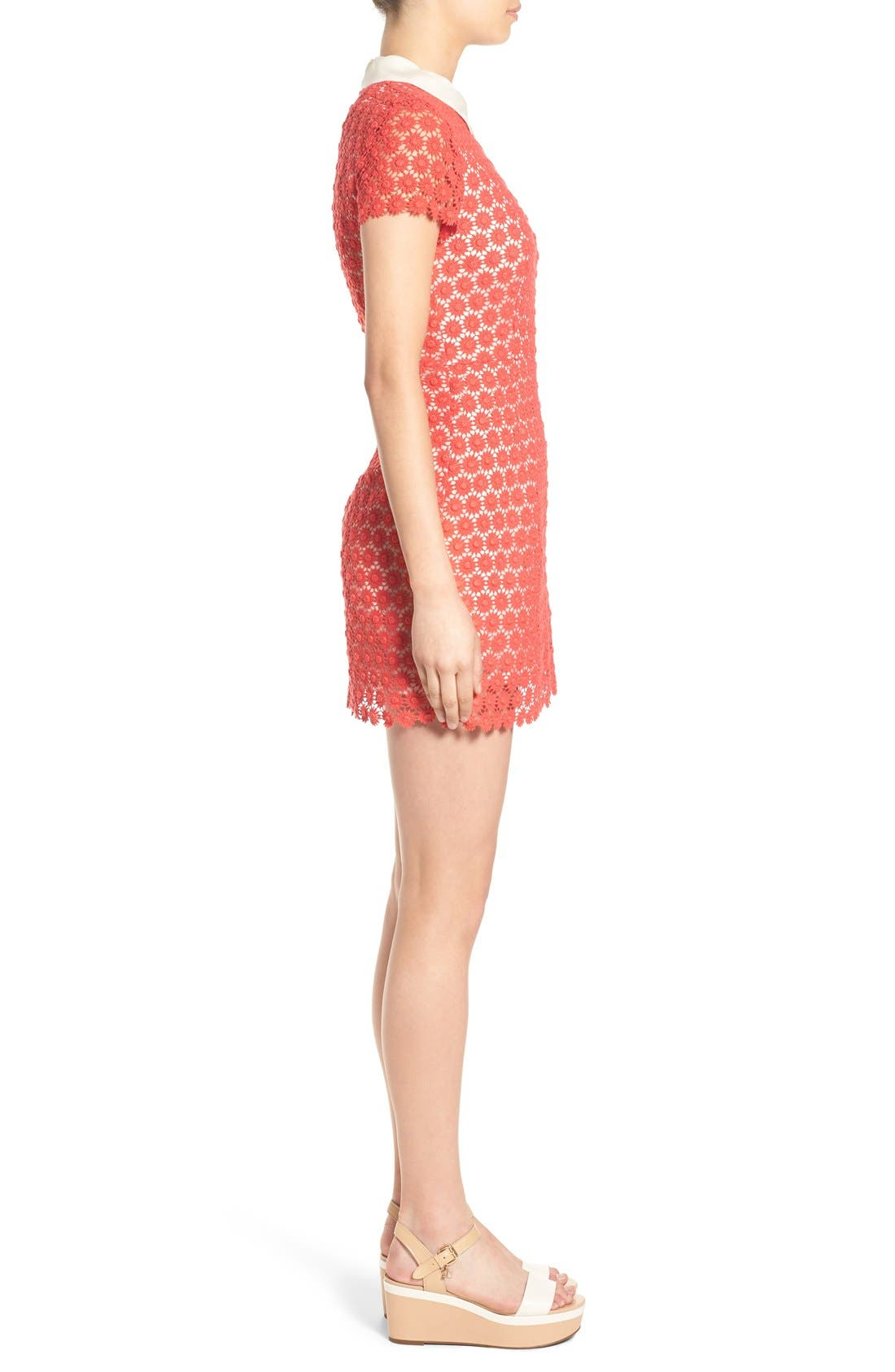 'Emily' Short Sleeve Lace Dress,                             Alternate thumbnail 3, color,                             Red