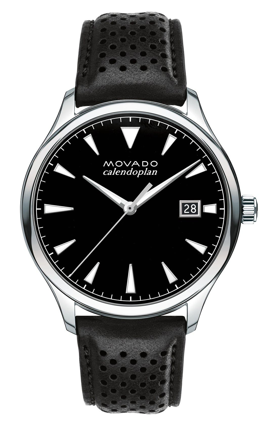 'Heritage' Leather Strap Watch, 40mm,                         Main,                         color, Black/ Black