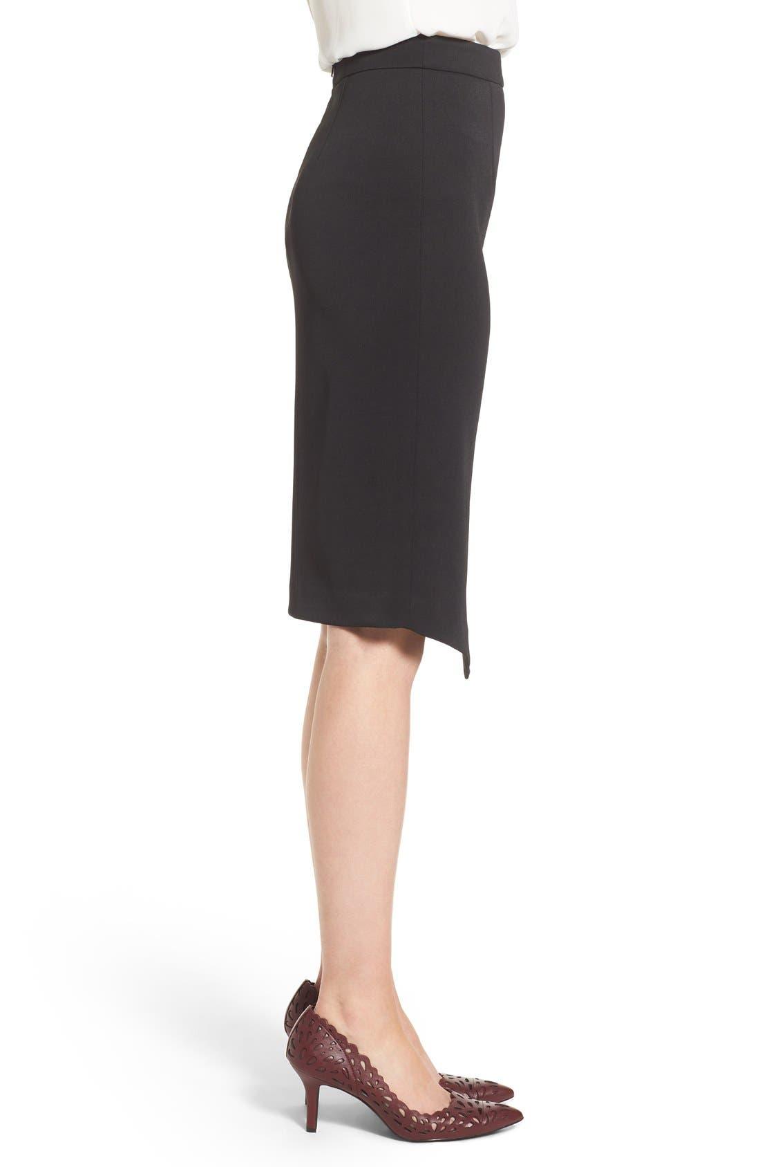 Asymmetrical Zip Pencil Skirt,                             Alternate thumbnail 4, color,                             Black