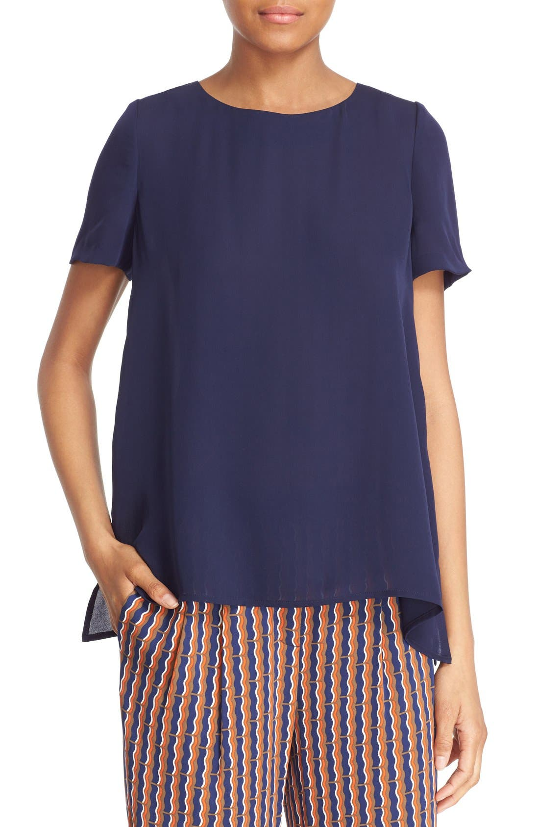 Alternate Image 1 Selected - Diane von Furstenberg 'Maggy' Short Sleeve Button Back Silk Blouse