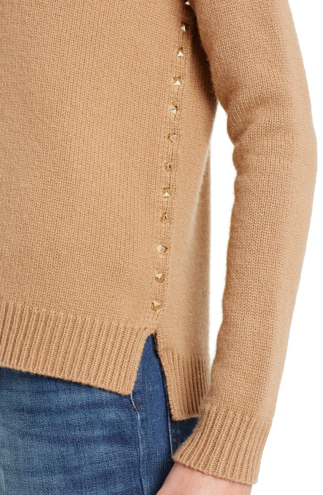Studded Crewneck Cashmere Sweater,                             Alternate thumbnail 6, color,                             Camel