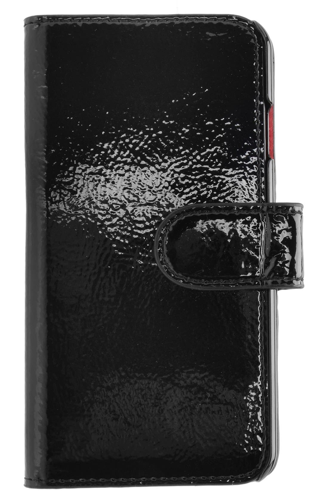iPhone 6/6s Wallet Case,                             Main thumbnail 1, color,                             Patent Black/ Fuchsia