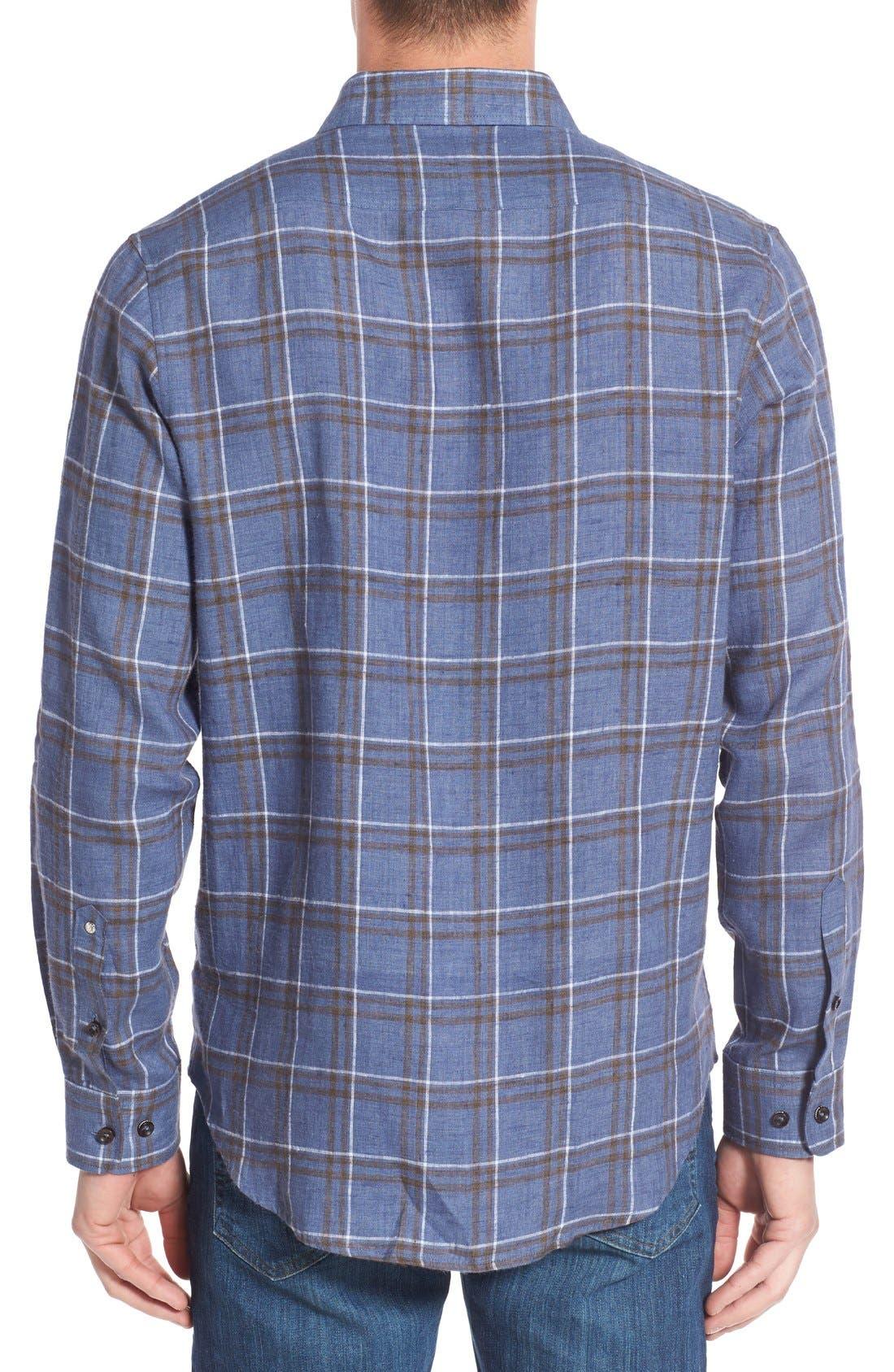 Alternate Image 2  - Singer + Sargent Plaid Brushed Linen Sport Shirt