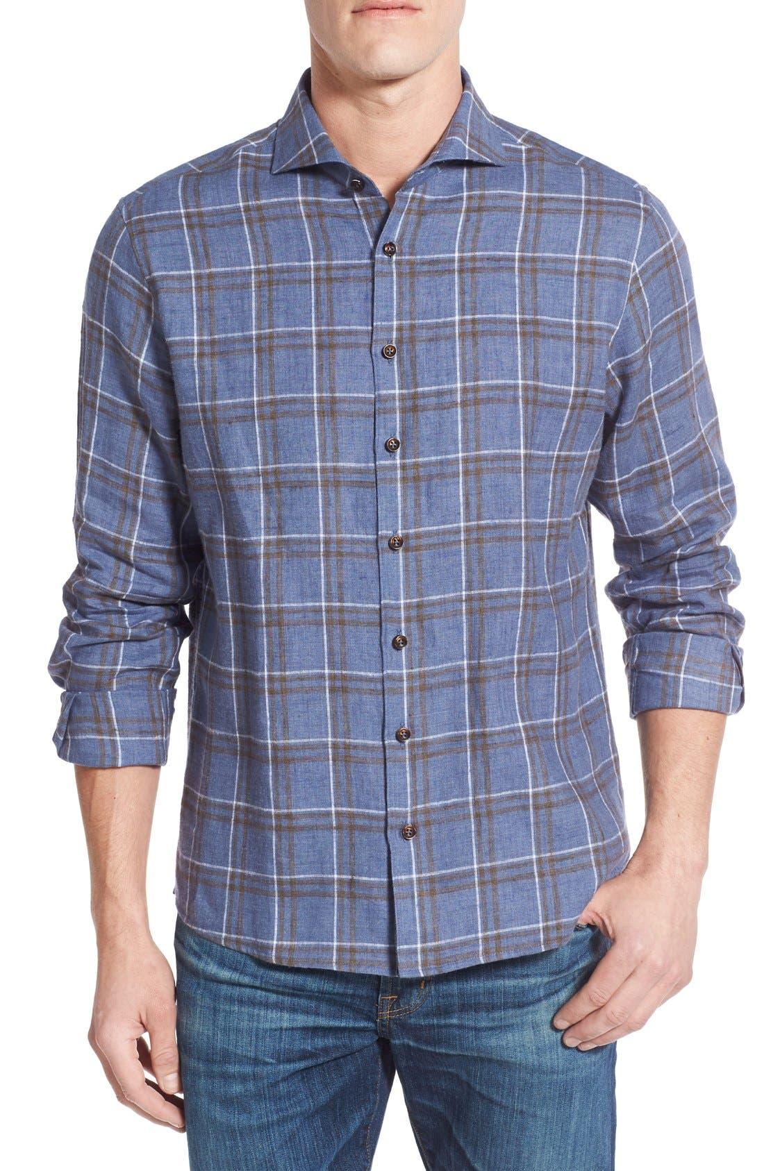 Main Image - Singer + Sargent Plaid Brushed Linen Sport Shirt
