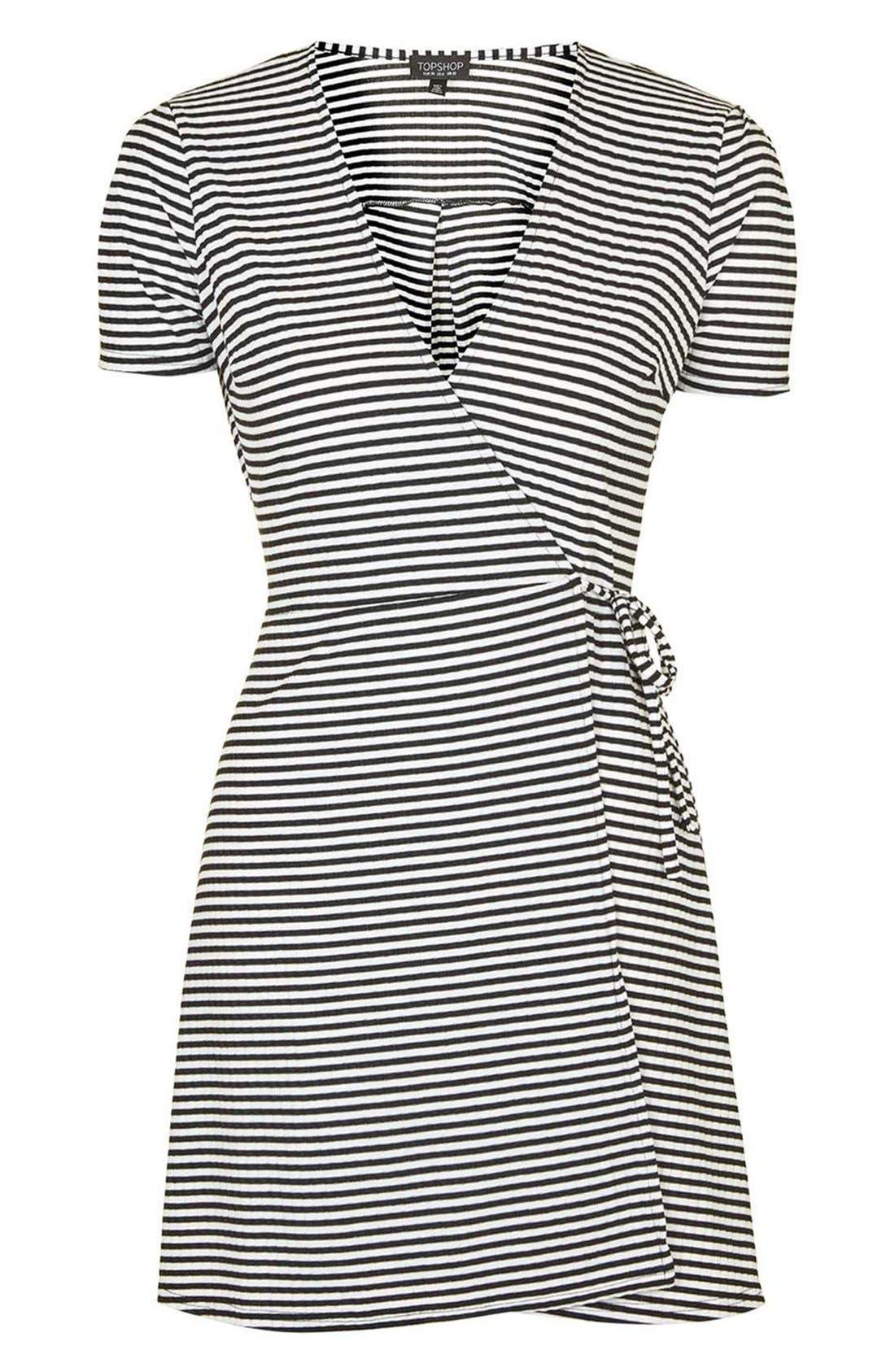 Alternate Image 4  - Topshop Stripe Wrap Skater Dress