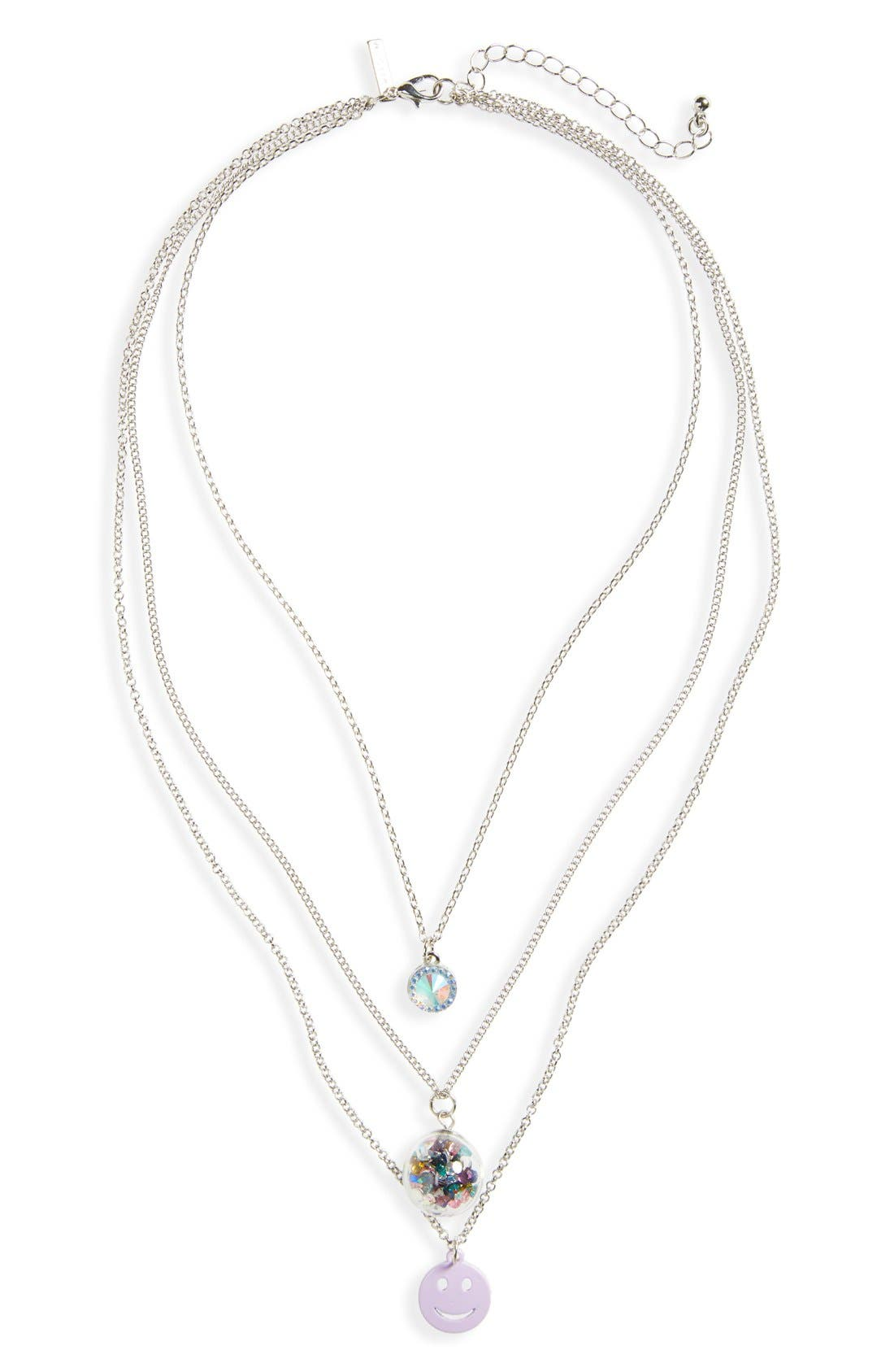 Main Image - Topshop Crystal Smiley Face Layer Necklace