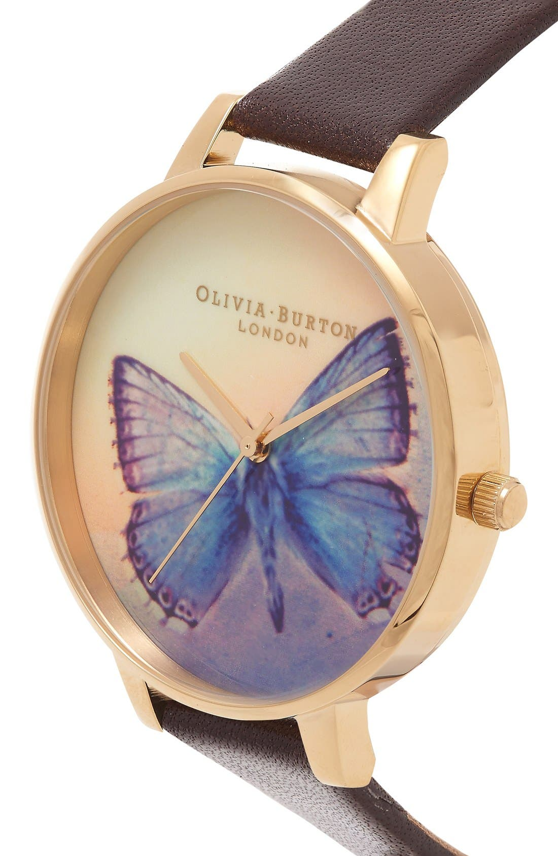 Alternate Image 2  - Olivia Burton 'Woodland Butterfly' Leather Strap Watch, 38mm