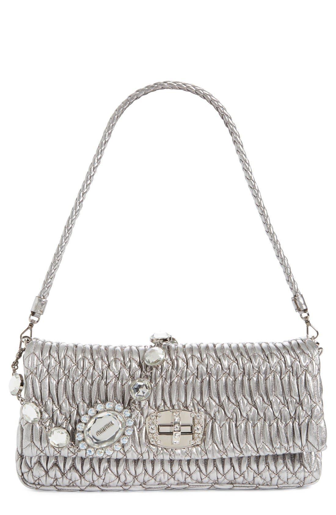2d42814af91 Miu Miu Medium Swarovski Crystal Chain Leather Shoulder Bag - Metallic In  Cromo
