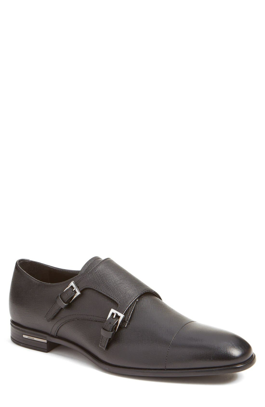 Double Monk Strap Shoe,                         Main,                         color, Nero Leather
