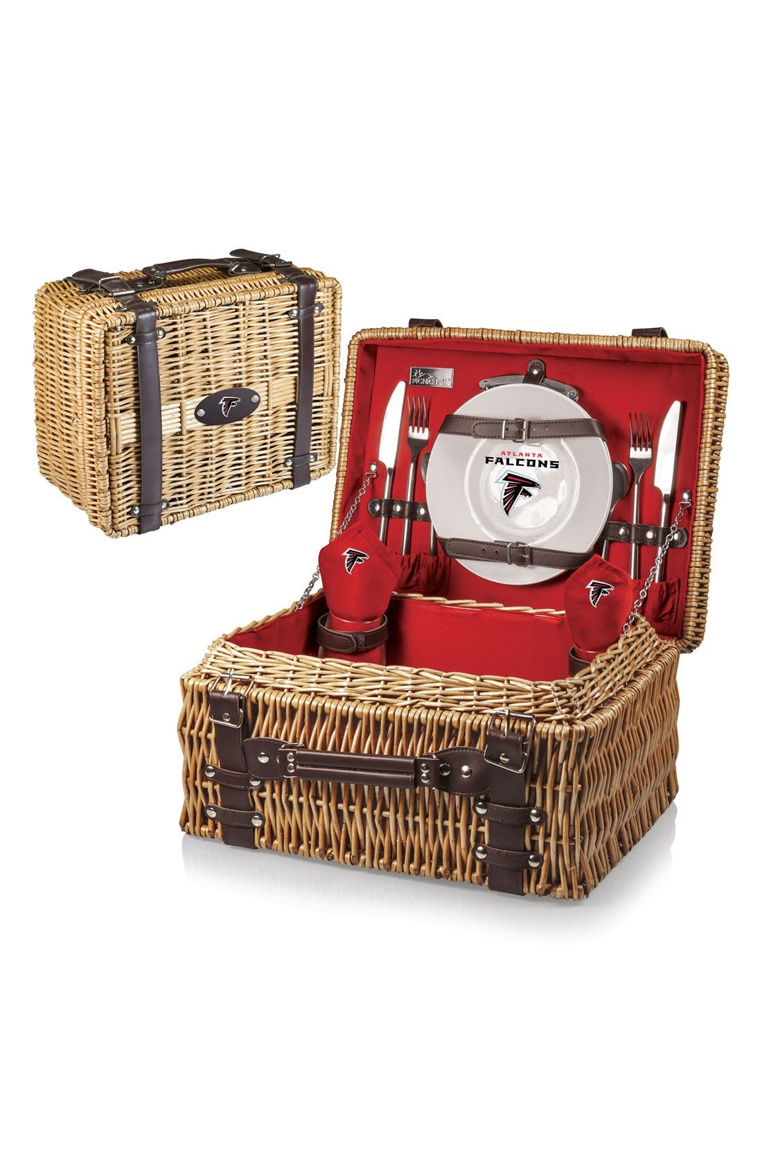 'NFL - Champion' Wicker Picnic Basket,                         Main,                         color, Red - Atlanta Falcons