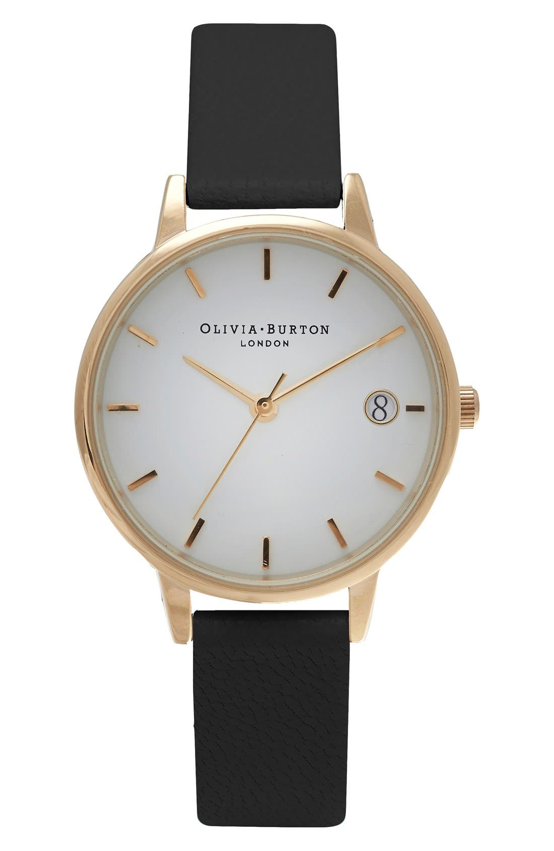 Alternate Image 1 Selected - Olivia Burton 'The Dandy' Leather Strap Watch, 30mm