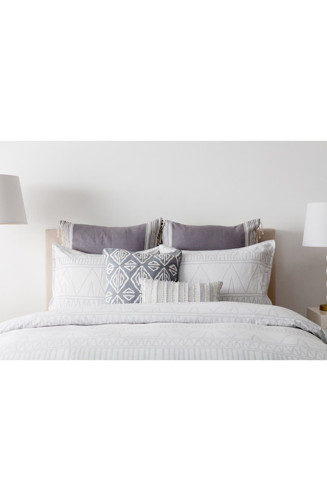 'Moroccan Geo' Crewel Embroidered Pillow,                             Alternate thumbnail 7, color,                             Grey