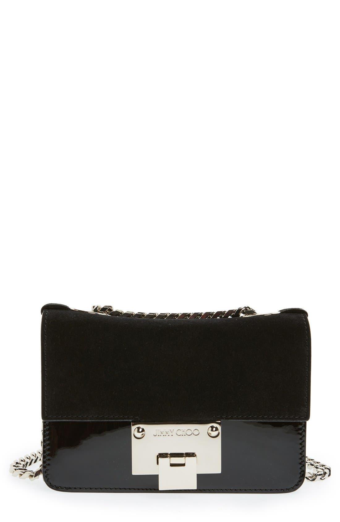 'Rebel Mini' Suede Crossbody Bag,                         Main,                         color, Black