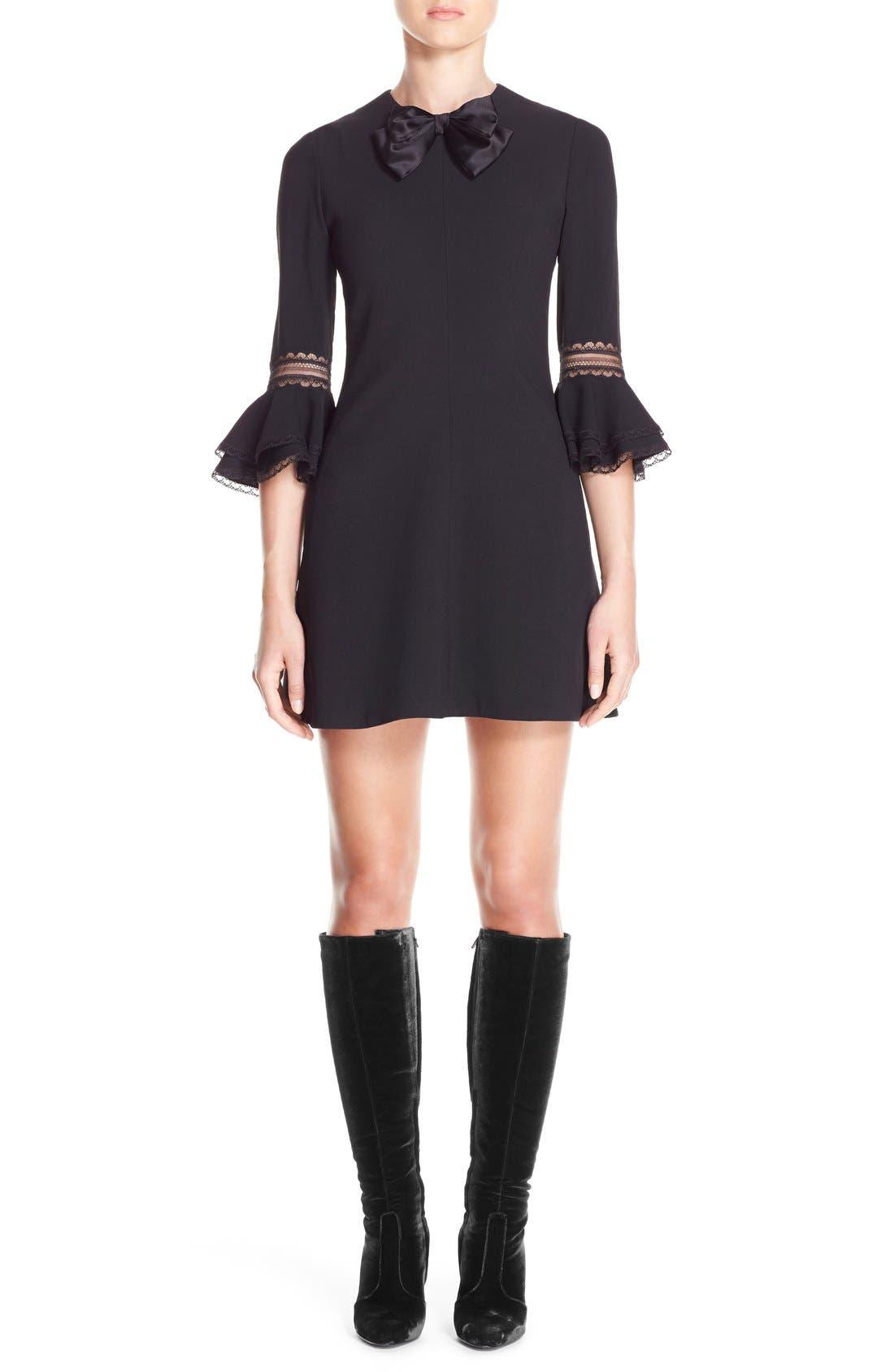 Main Image - Saint Laurent Ruffle Trim Crepe Sable Babydoll Dress