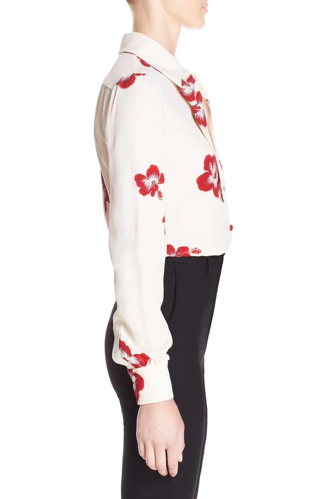 Alternate Image 4  - Saint Laurent Hibiscus Print Crepe Blouse